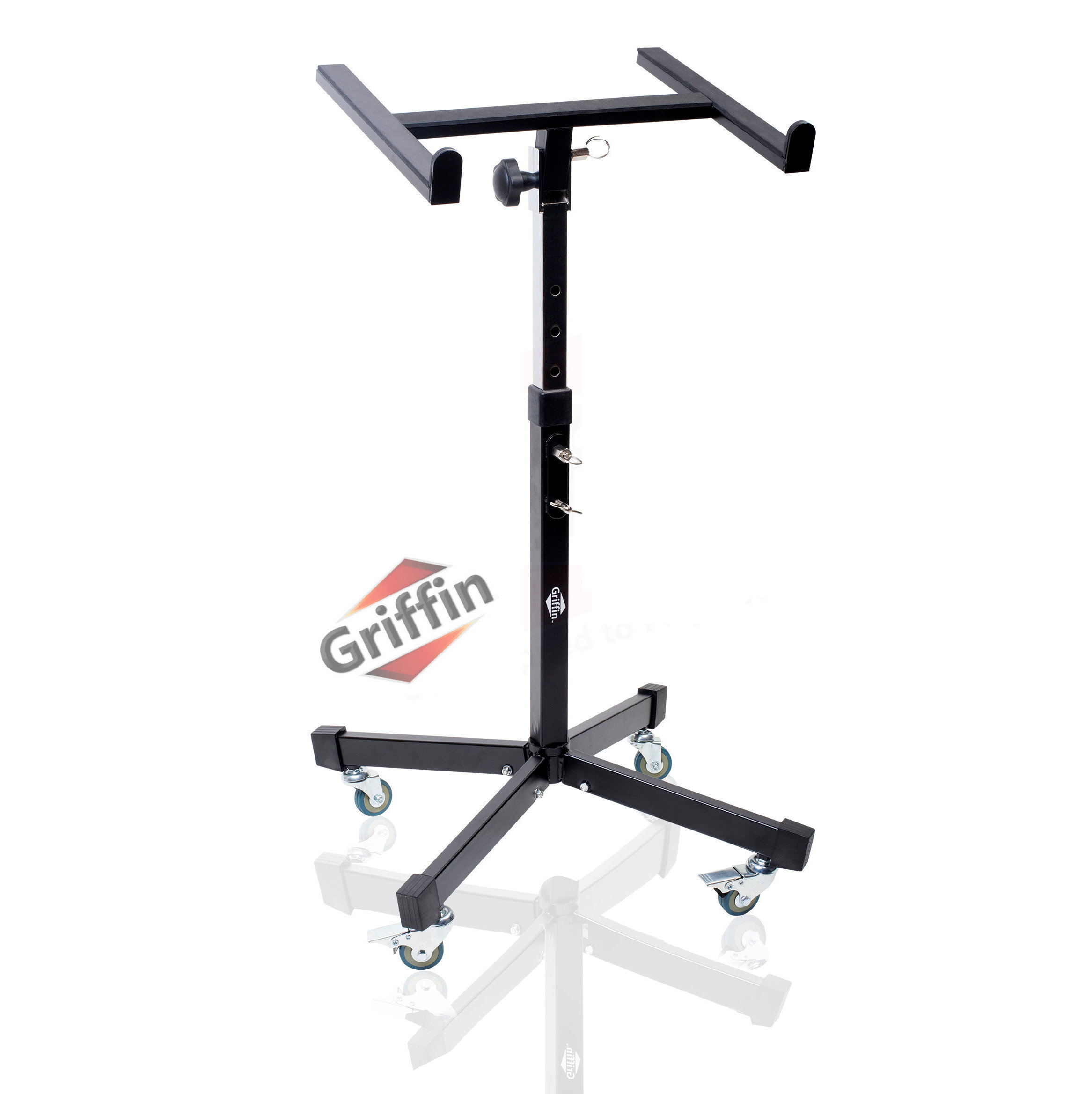Studio Mixer Stand on Wheels Rolling Audio Stage DJ Cart on Casters Adjustable & Portable By Griffin