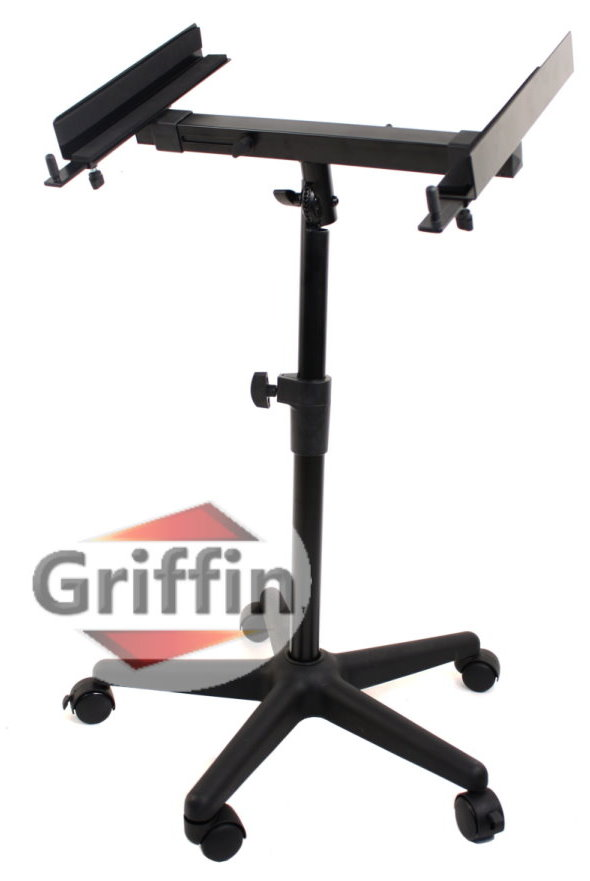 Audio-Mixer Stand on Wheels Rolling Studio Stage DJ Cart on Casters Adjustable & Portable By Griffin