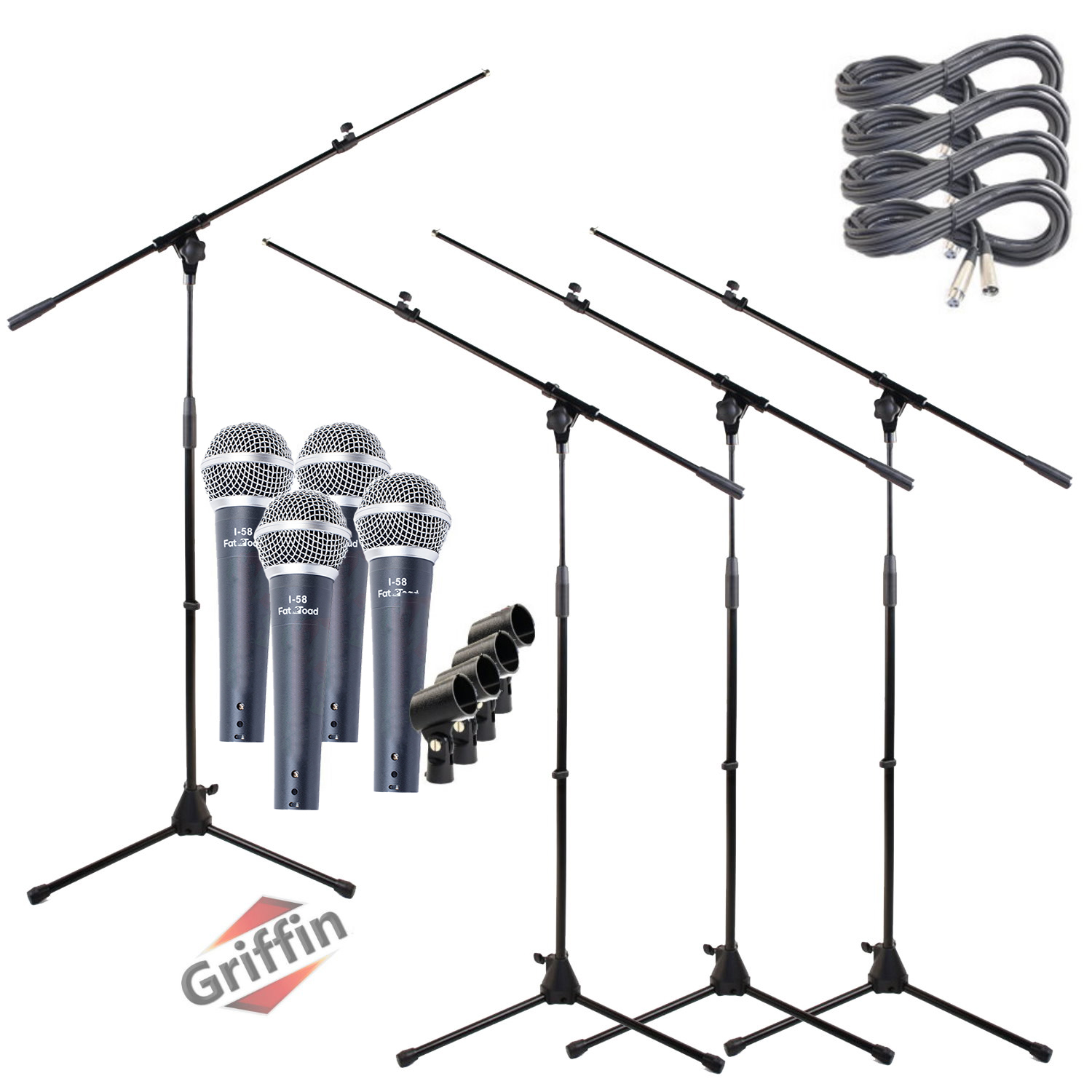 Cardioid Dynamic Microphones with Mic Boom Stands, XLR Cables and Clips 4 Pack by Griffin