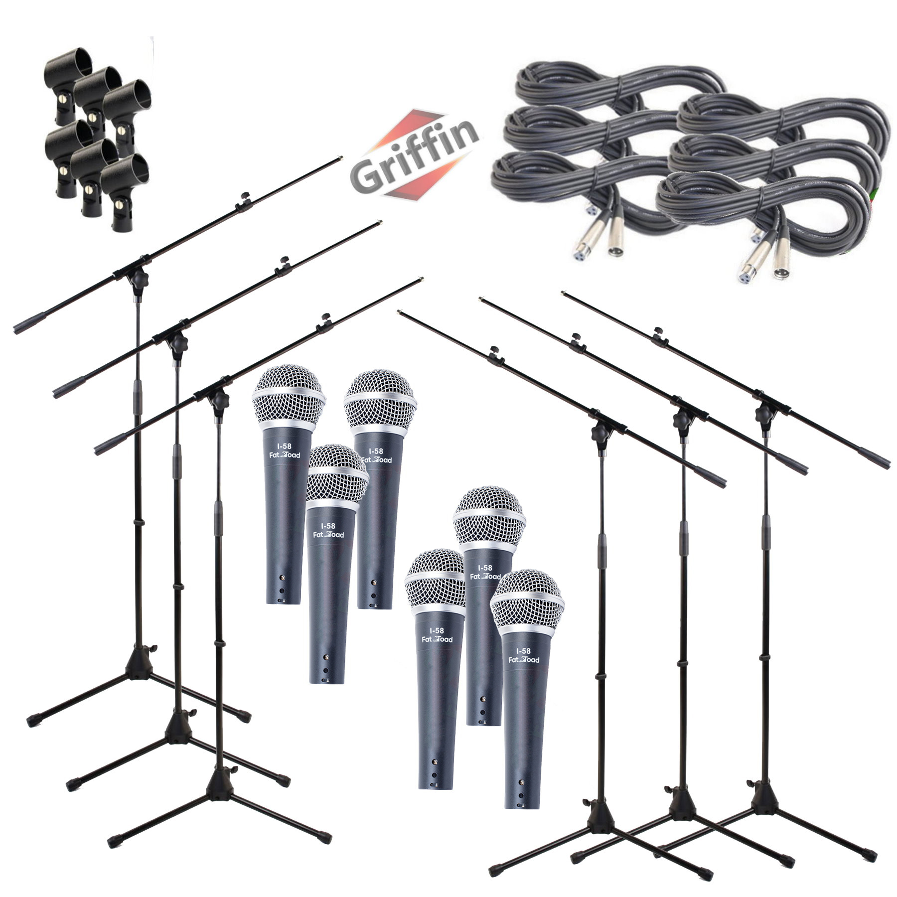 Microphone Boom Stand Package with Cardioid Vocal Microphones & XLR Mic Cables (Pack of 6) by Griffin|Telescoping Arm Holder with Tripod Mount|Handheld Unidirectional Mics for Music Studio Recording