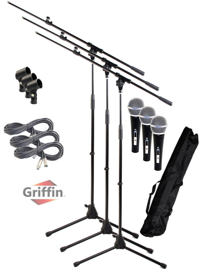 Dynamic Mic Package with Microphone Boom Stand, XLR Cables, Clips and Carrying Bag 3 Pack by Griffin