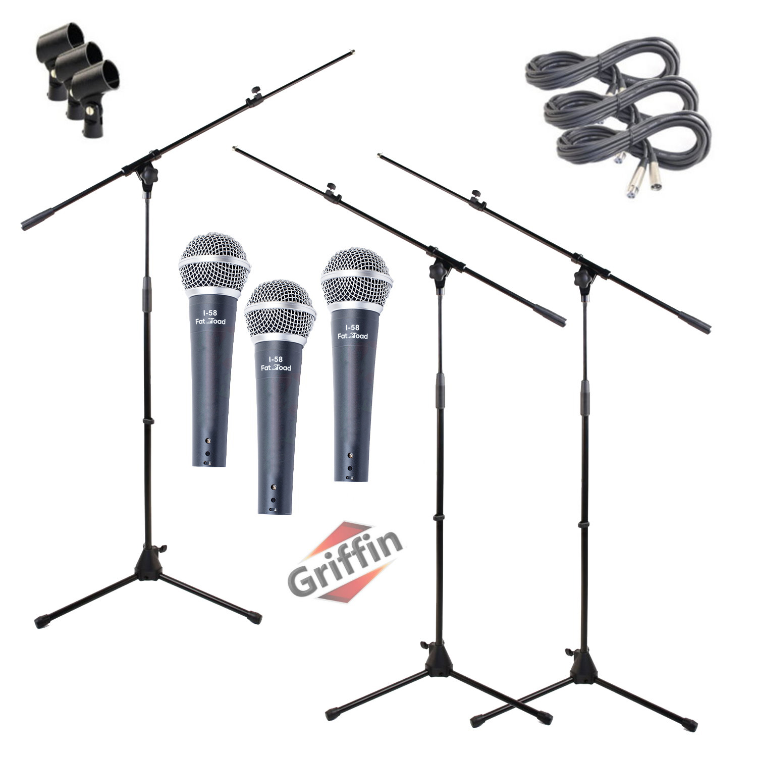 Dynamic Microphones with Tripod Stand Package, XLR Mic Cables & Clips 3 Pack by Griffin