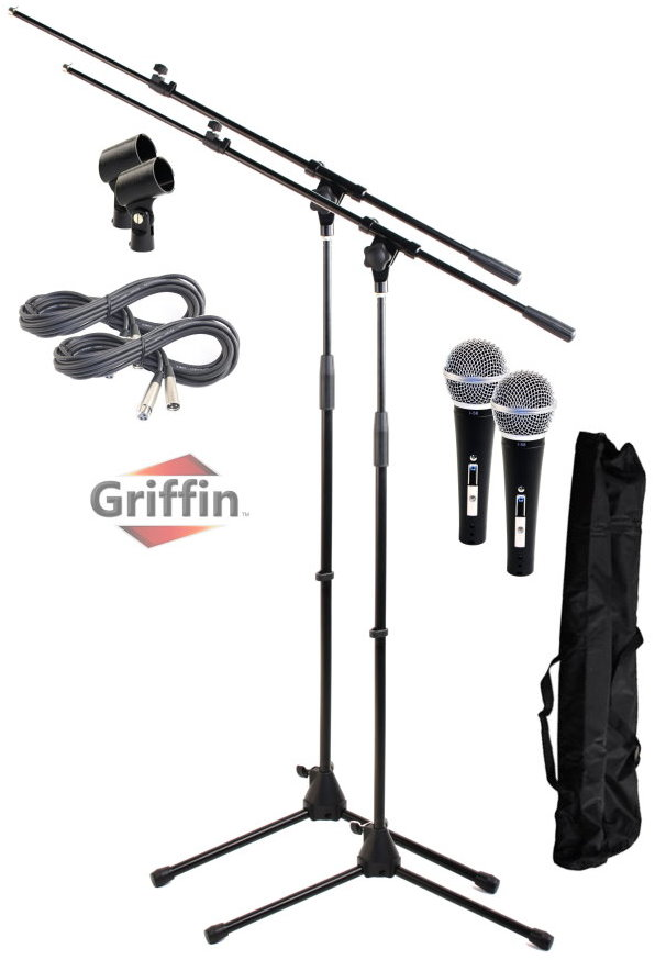 Dynamic Vocal Mic with Microphone Boom Stands, XLR Cables & Clips 2 Pack by Griffin