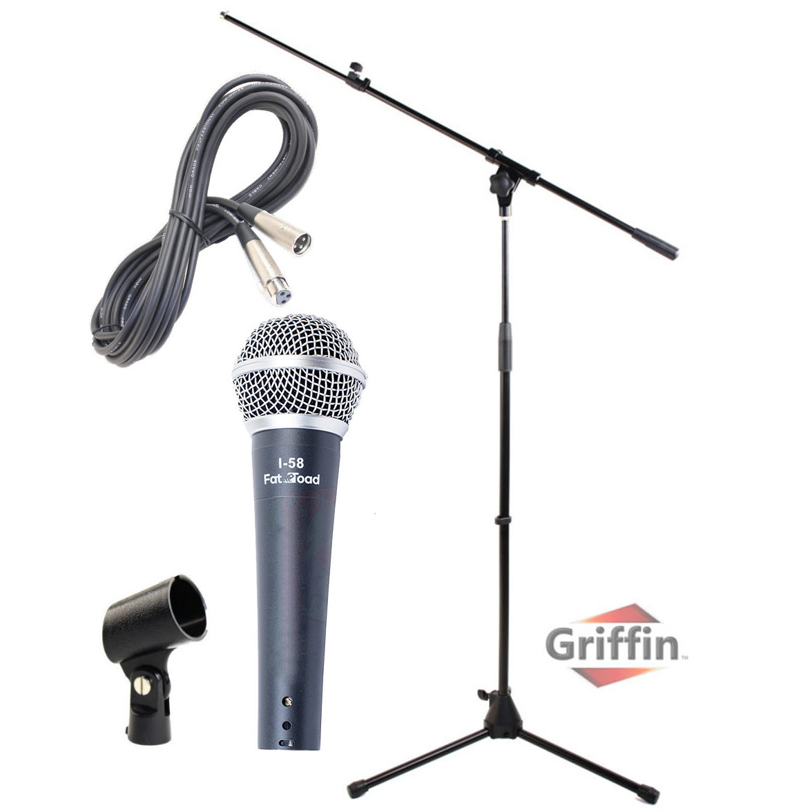 Dynamic Vocal Microphone with XLR Cable, Mic Stand & Clip by Griffin