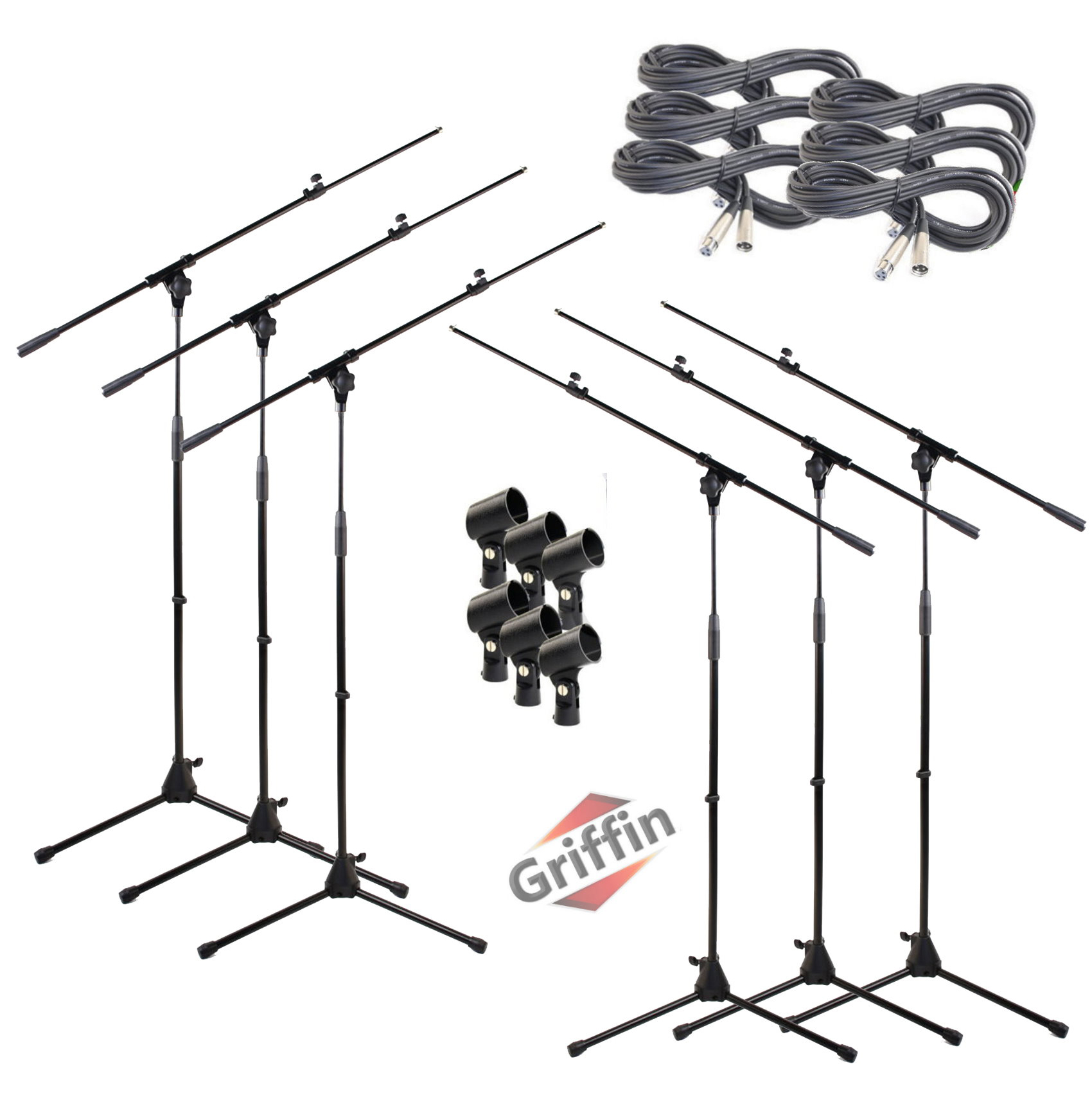Hand-Held Dynamic Vocal Microphones Package with Mic Boom Stands, XLR Cables, Carrying Bag & Clips 6 PACK by Griffin