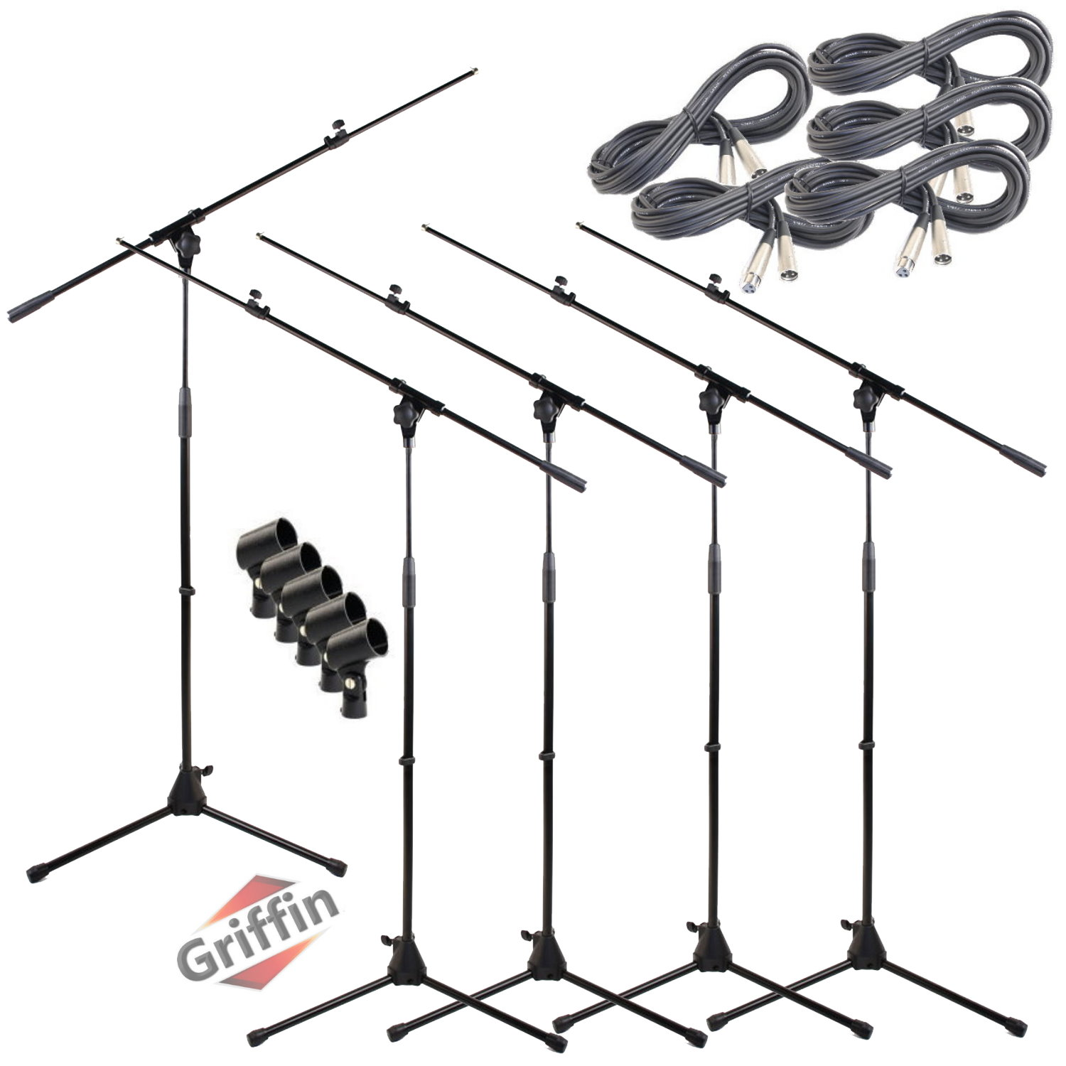 Mic Stand Package with XLR Mic Cables and Clips 5 Pack by Griffin