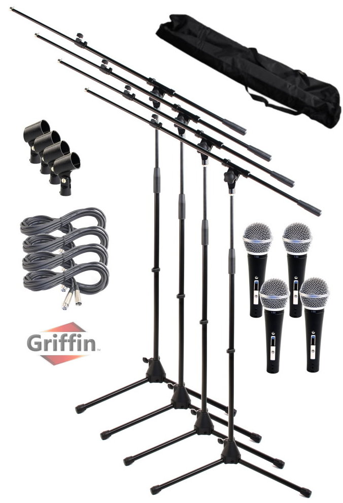 Microphone Package with Boom Stands Cardioid Dynamic Mics, XLR Cables, Carrying Bag and Clips 4 Pack by Griffin