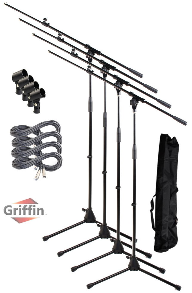 Package of Microphone Boom Stands, XLR Cables, Carrying Bag and Mic Clips 4 Pack by Griffin