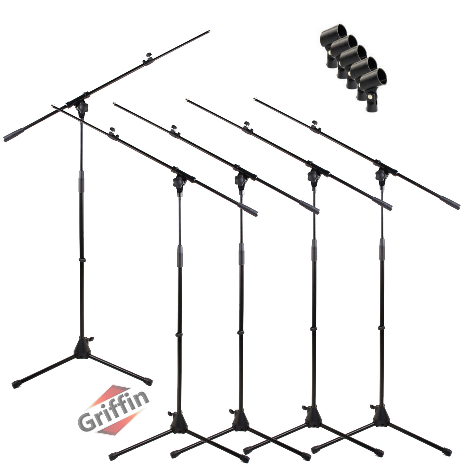 Tripod Microphone Boom Stand Package with Mic Clips 5 Pack by Griffin