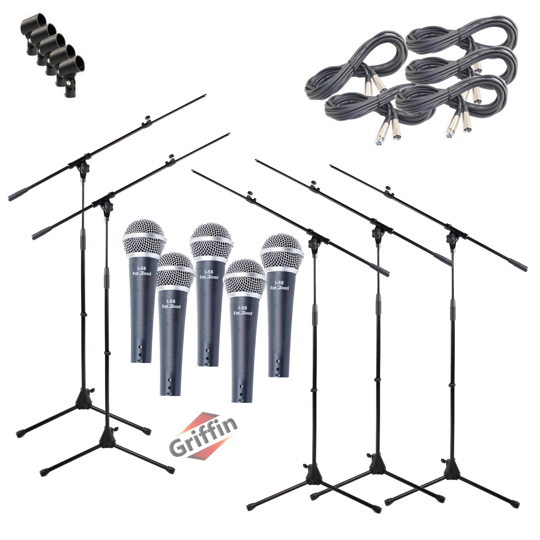 Unidirectional Microphone Package with Mic Boom Stands, XLR Cables and Clips 5 Pack by Griffin