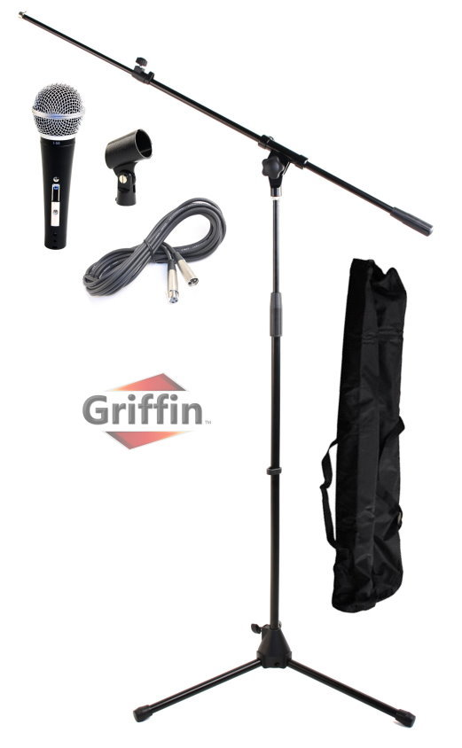 Vocal Dynamic Microphone with Mic Boom Stand Package, XLR Cable, Carrying Bag & Clip by Griffin
