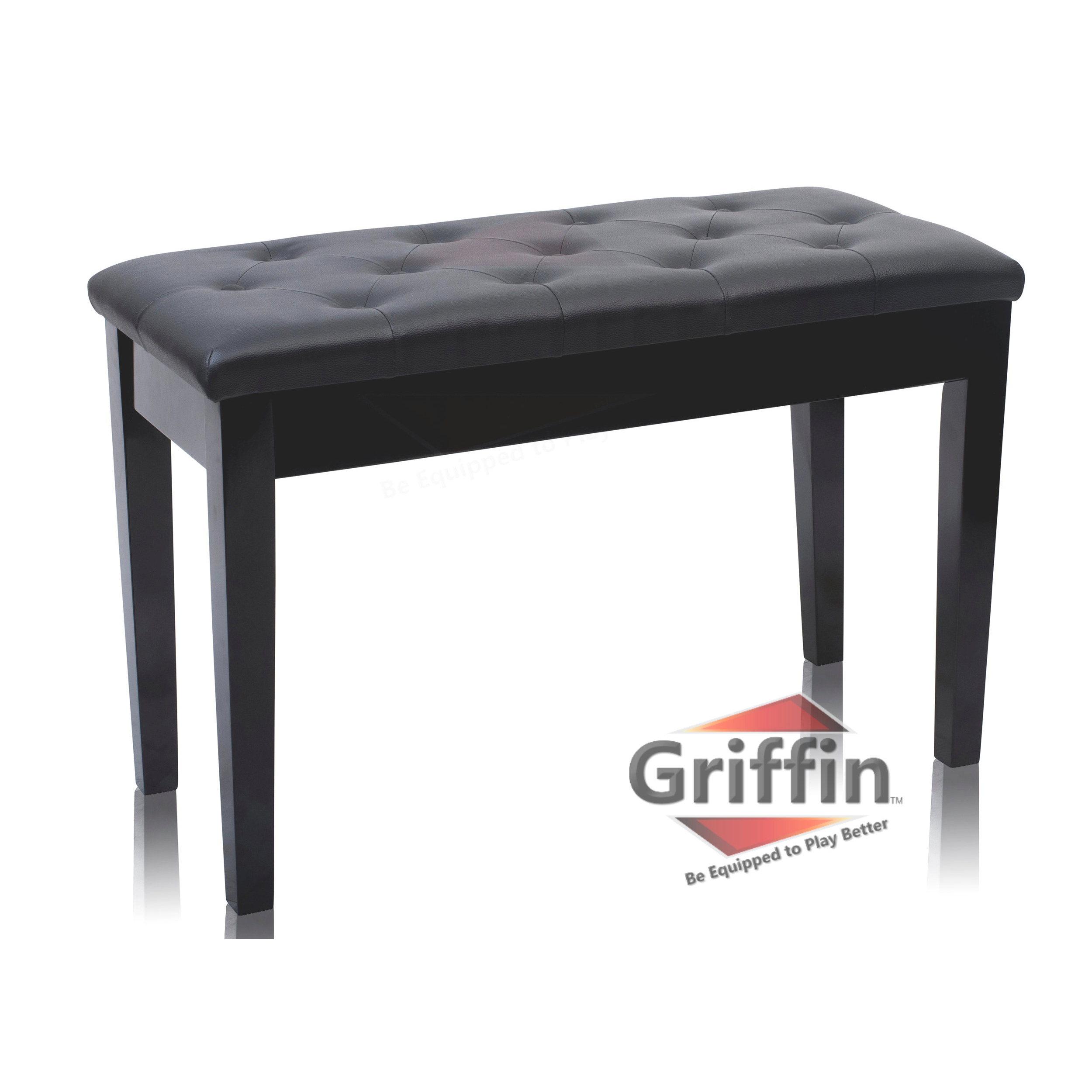 Black Piano Bench with Storage Leather Wood Keyboard Seat Duet Duel Double 2 Person Ebony Bench by Griffin