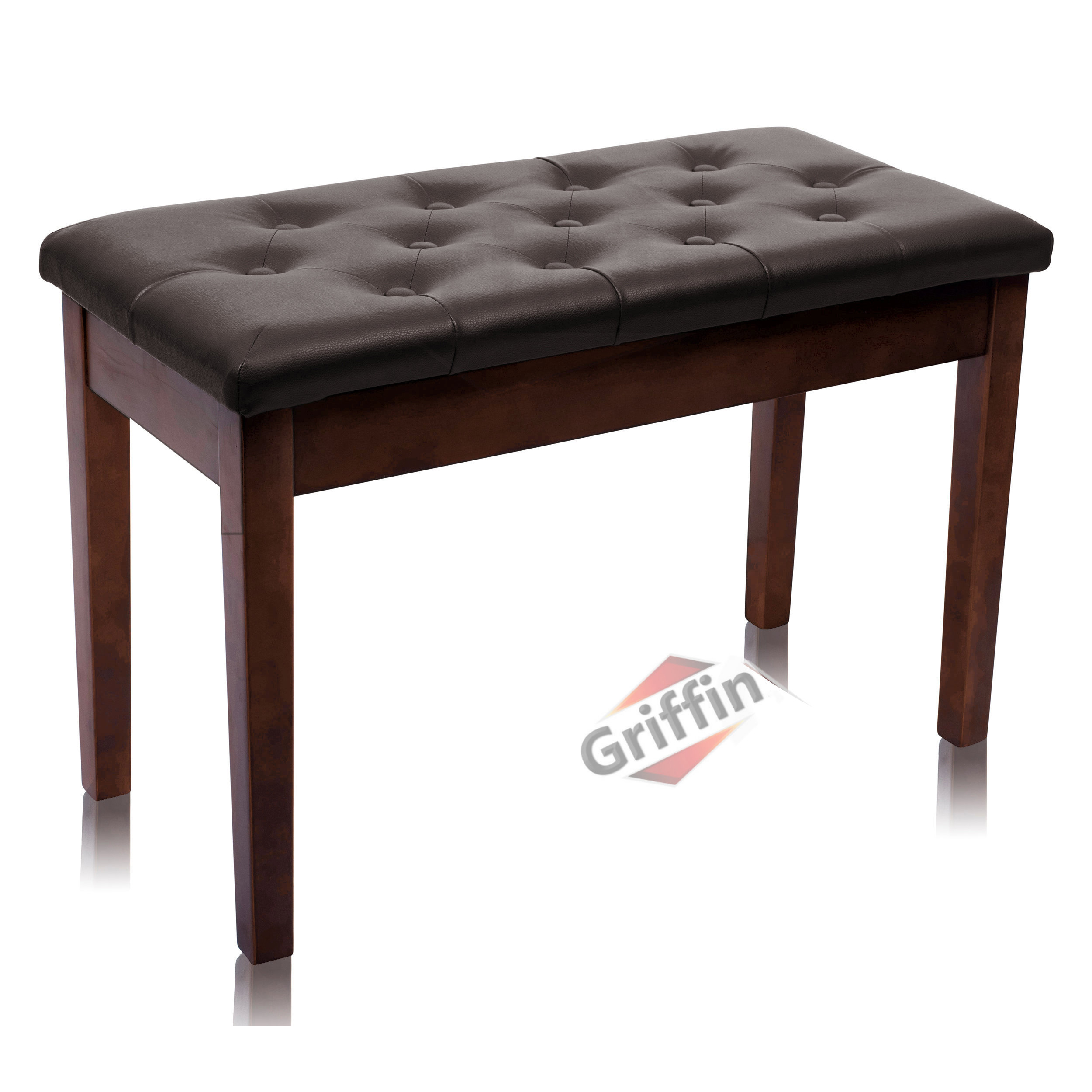 Brown Piano Bench, Duet Double Seat Leather Wood Piano Benches
