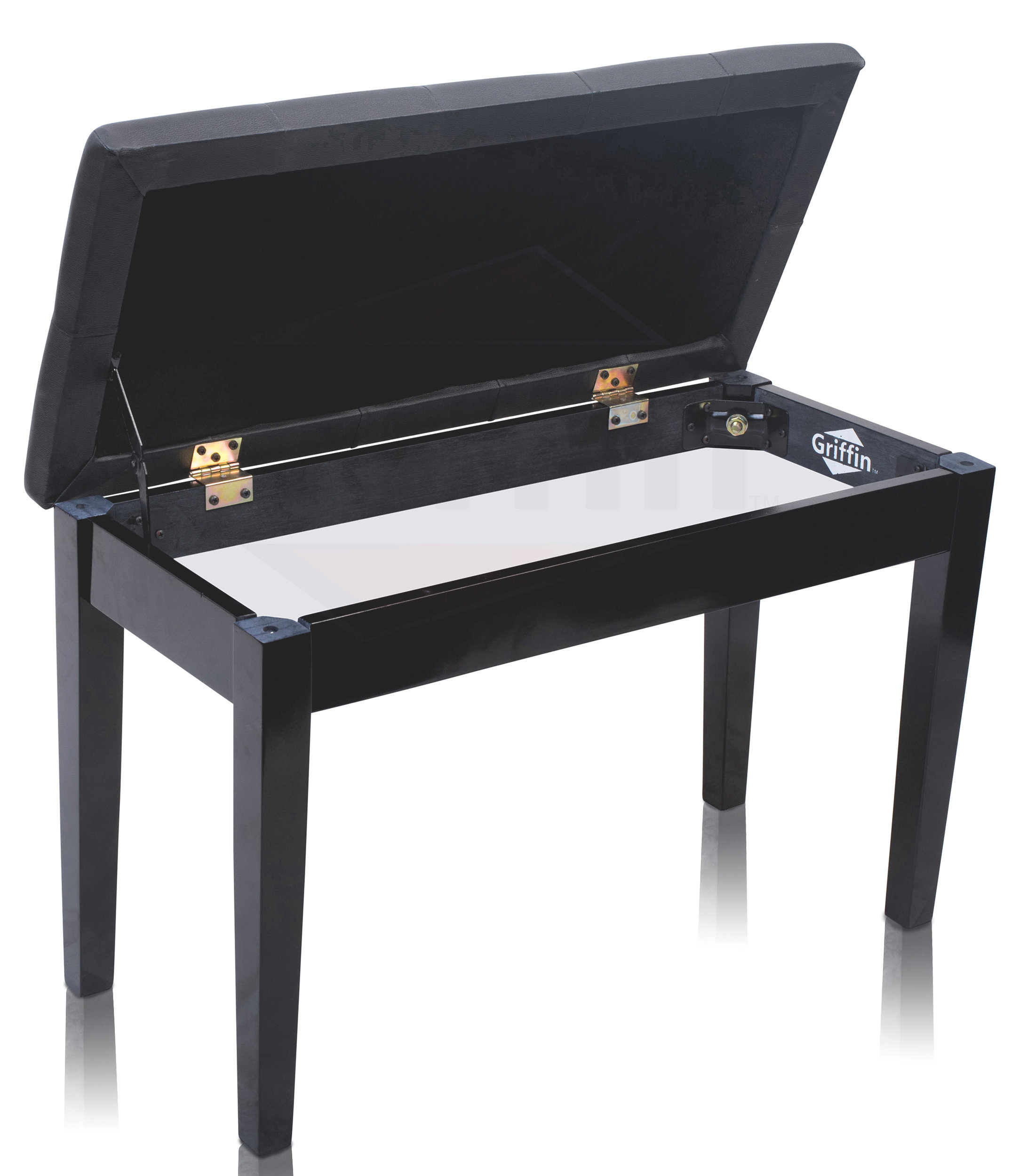 Black Leather Piano Bench Ebony Wood Double Duet Keyboard