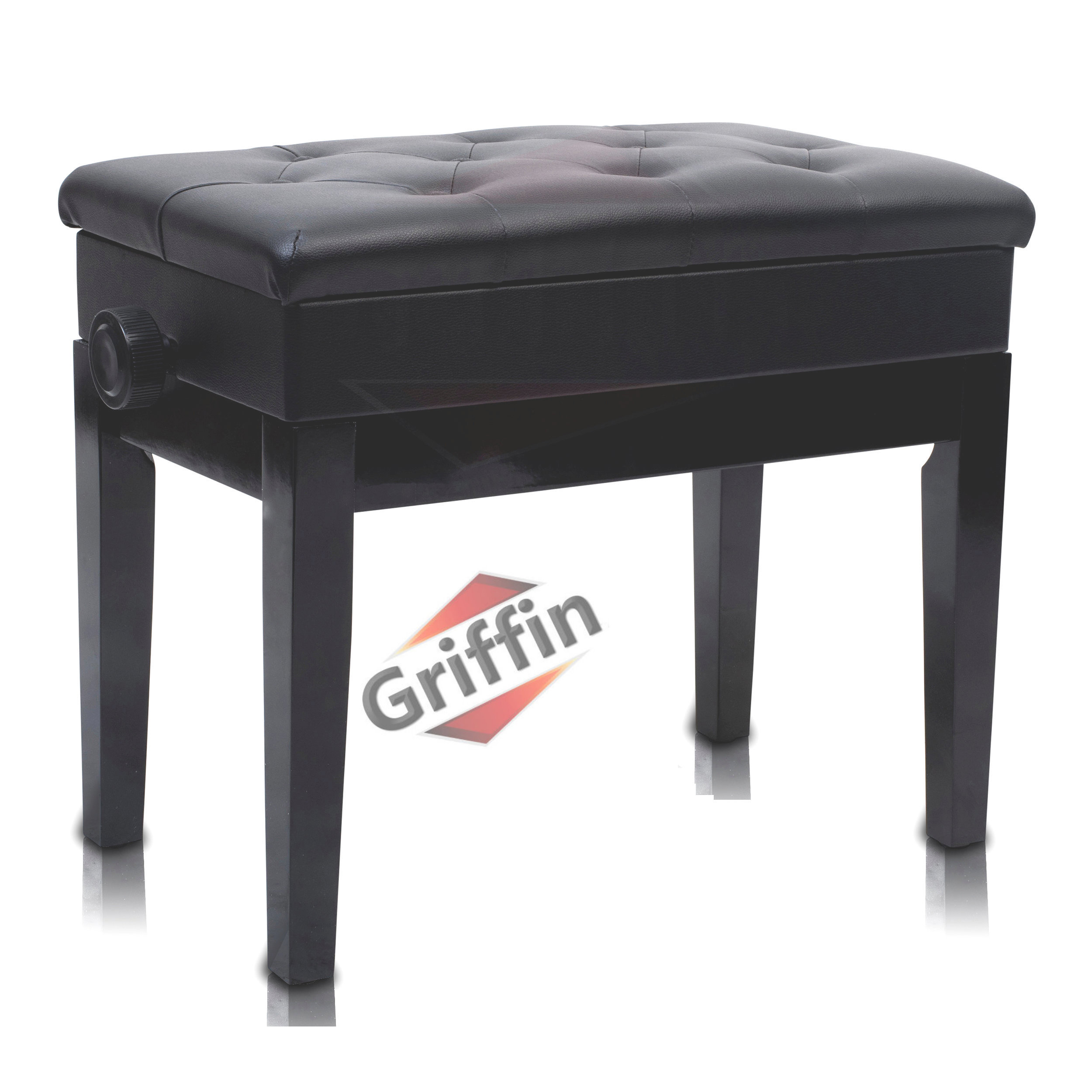 Adjustable Piano Bench with Storage Black Ebony Leather Wood Keyboard Seat by Griffin