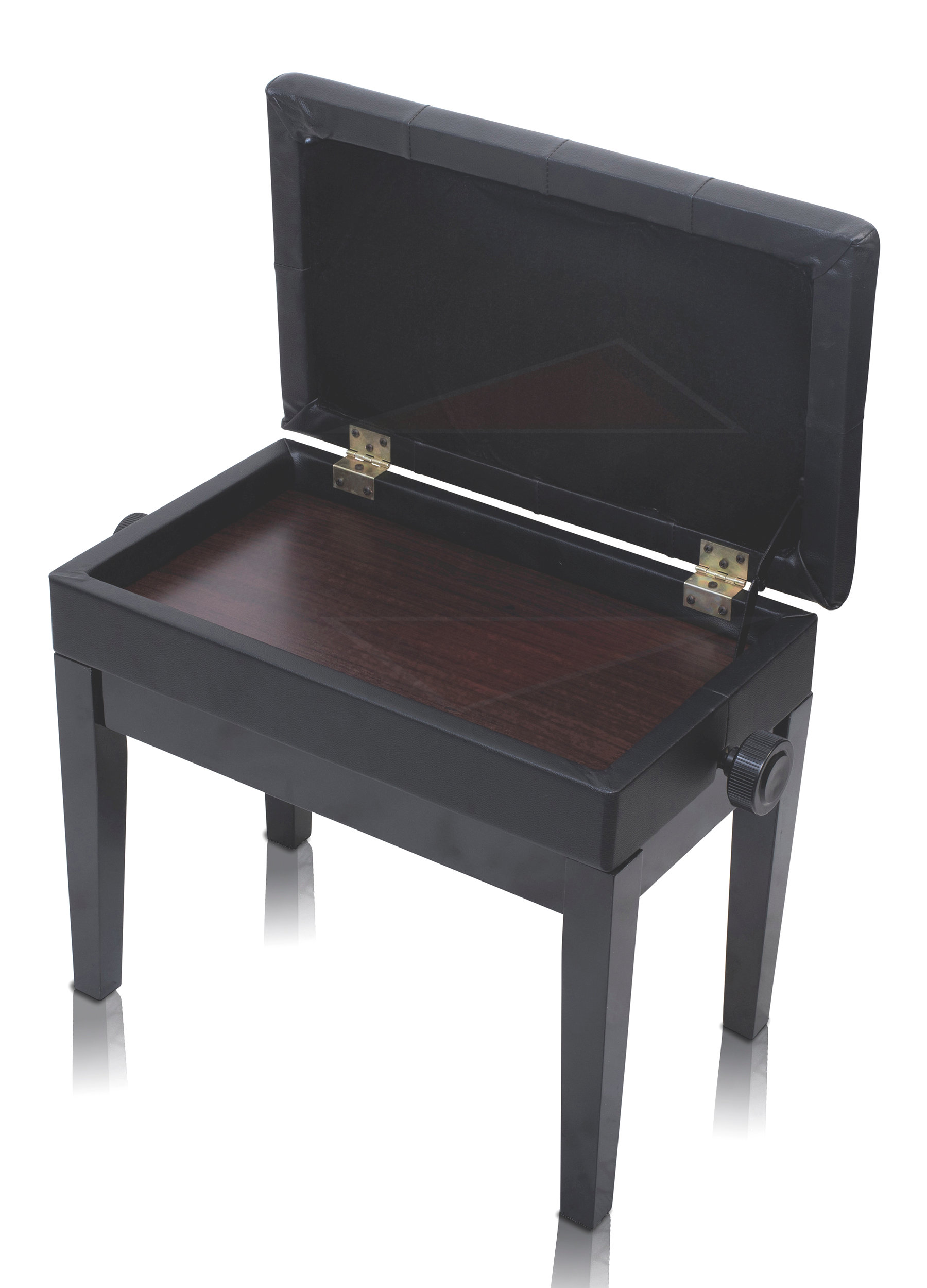 Black Leather Piano Bench Griffin Storage Adjustable