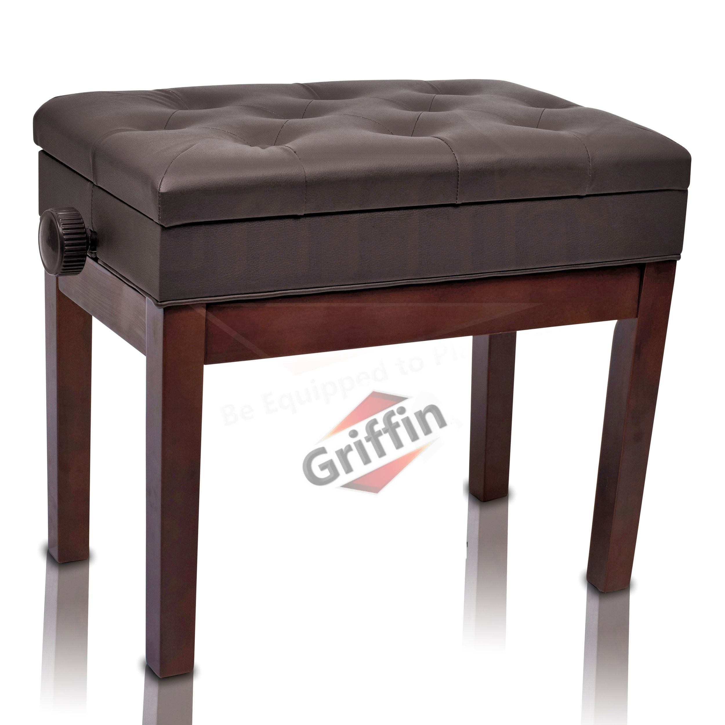 Leather Piano Bench Adjustable Brown Wood with Storage Keyboard Seat by Griffin