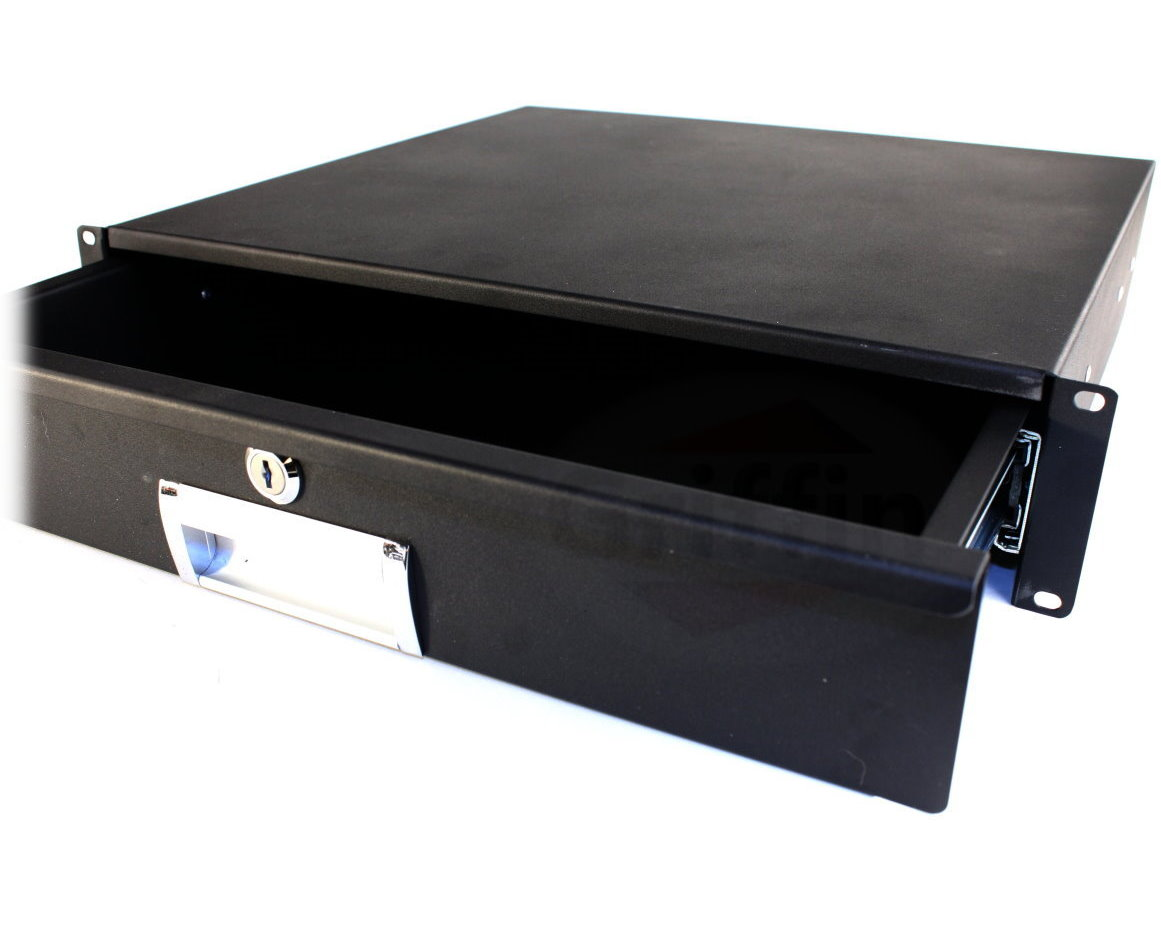 griffin 2u rack mount drawer recording music studio cabinet shelf locking case ebay. Black Bedroom Furniture Sets. Home Design Ideas