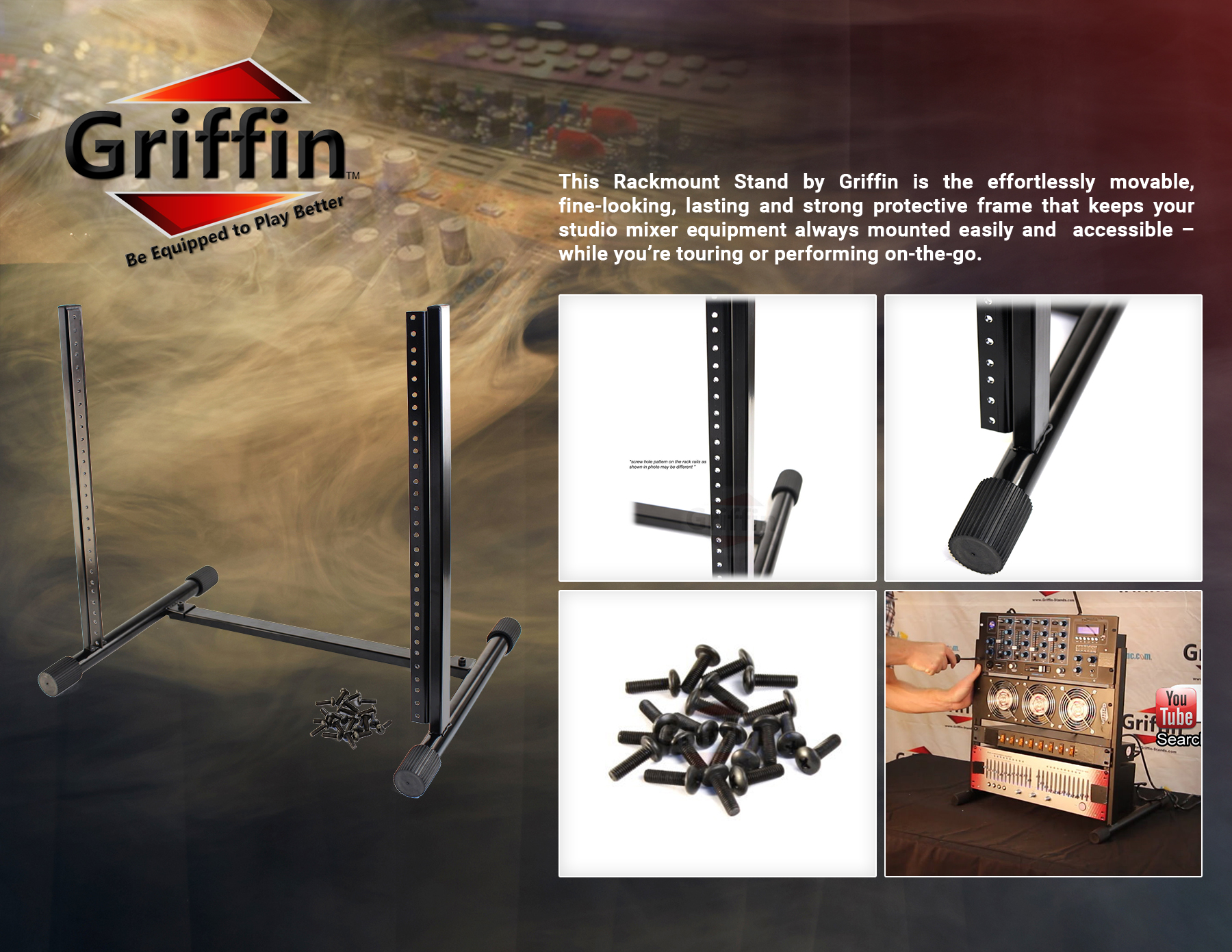 Studio Rack Mount Stand Griffin Recording Mixer Equipment Gear