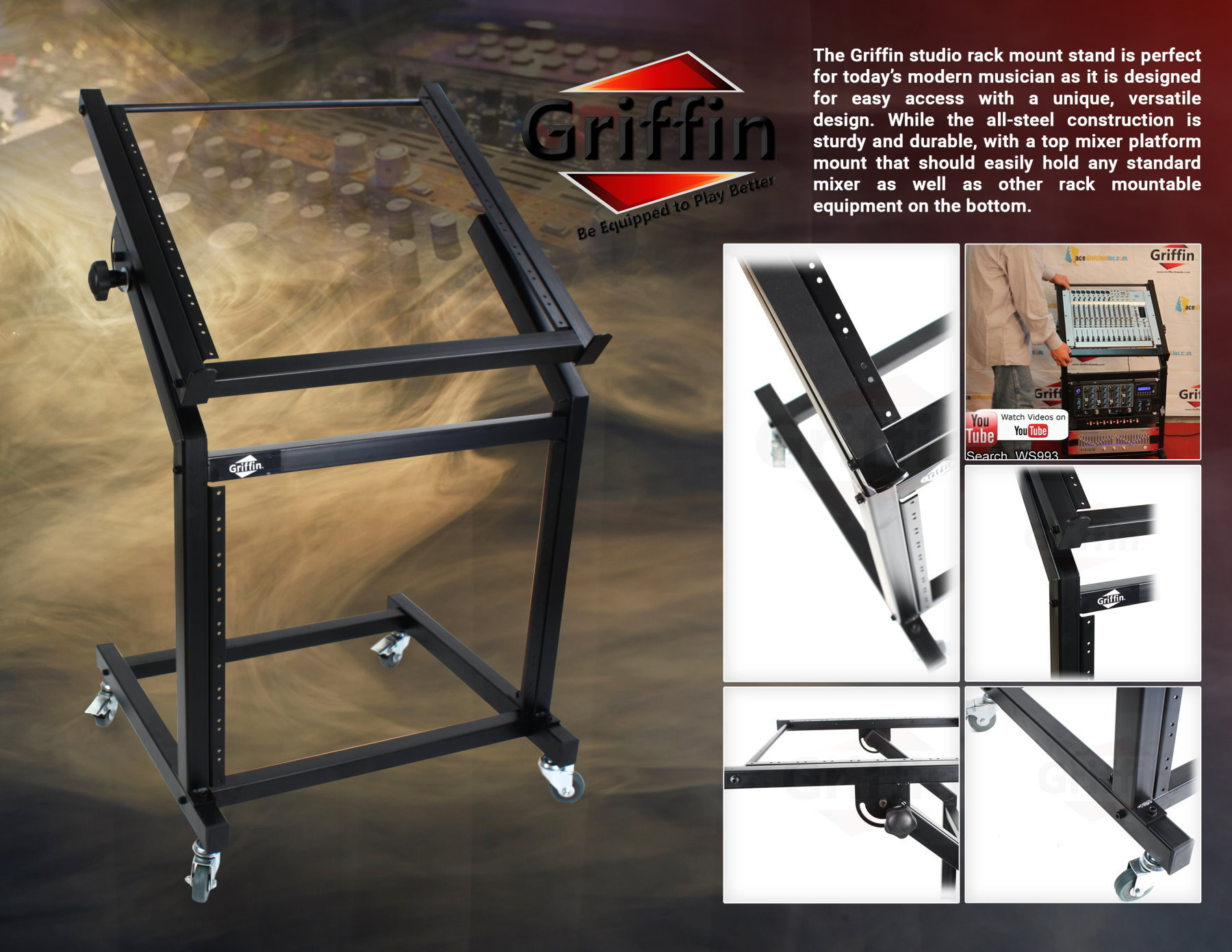 17mm To Inches >> Rolling Rack Mount Stand – Music Studio Equipment Mixer Cart Gear Holder Effects | eBay
