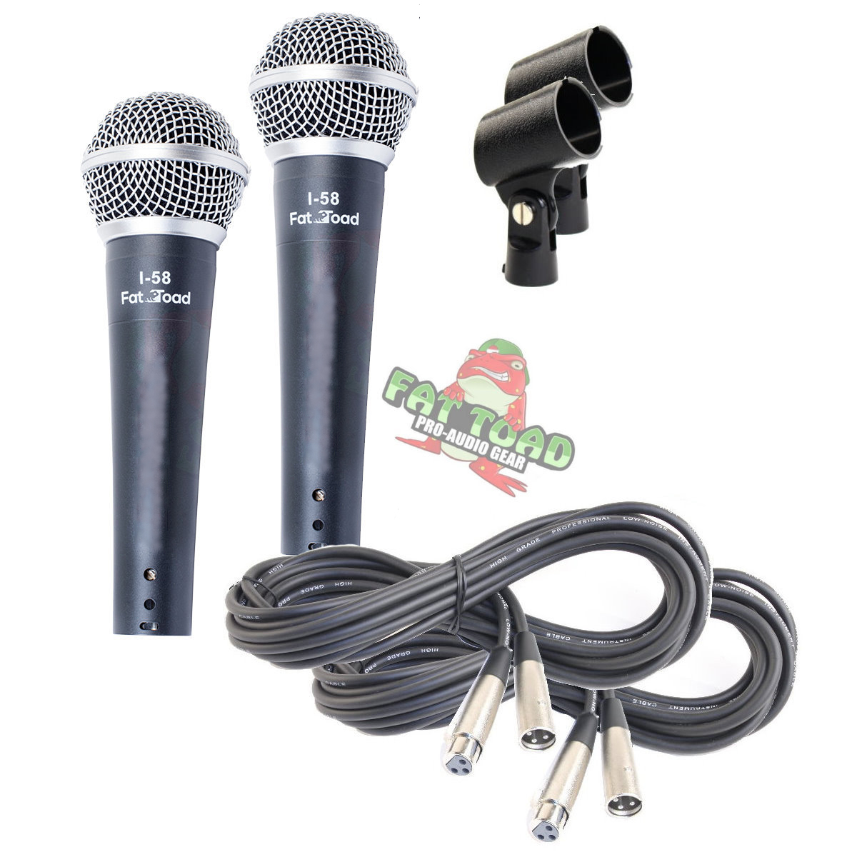 Hand Held Vocal Dynamic Microphone Package With Xlr Mic Cables By 3 Pin Wiring Microphones And Clips 2 Pack Fat Toad