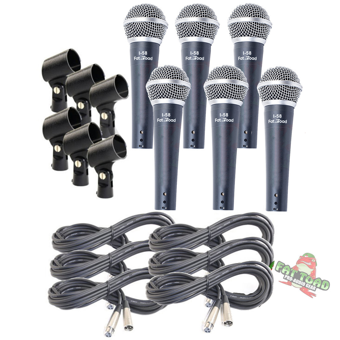 Hand-Held Dynamic Microphone Package with XLR Mic Cables 6 PACK by Griffin