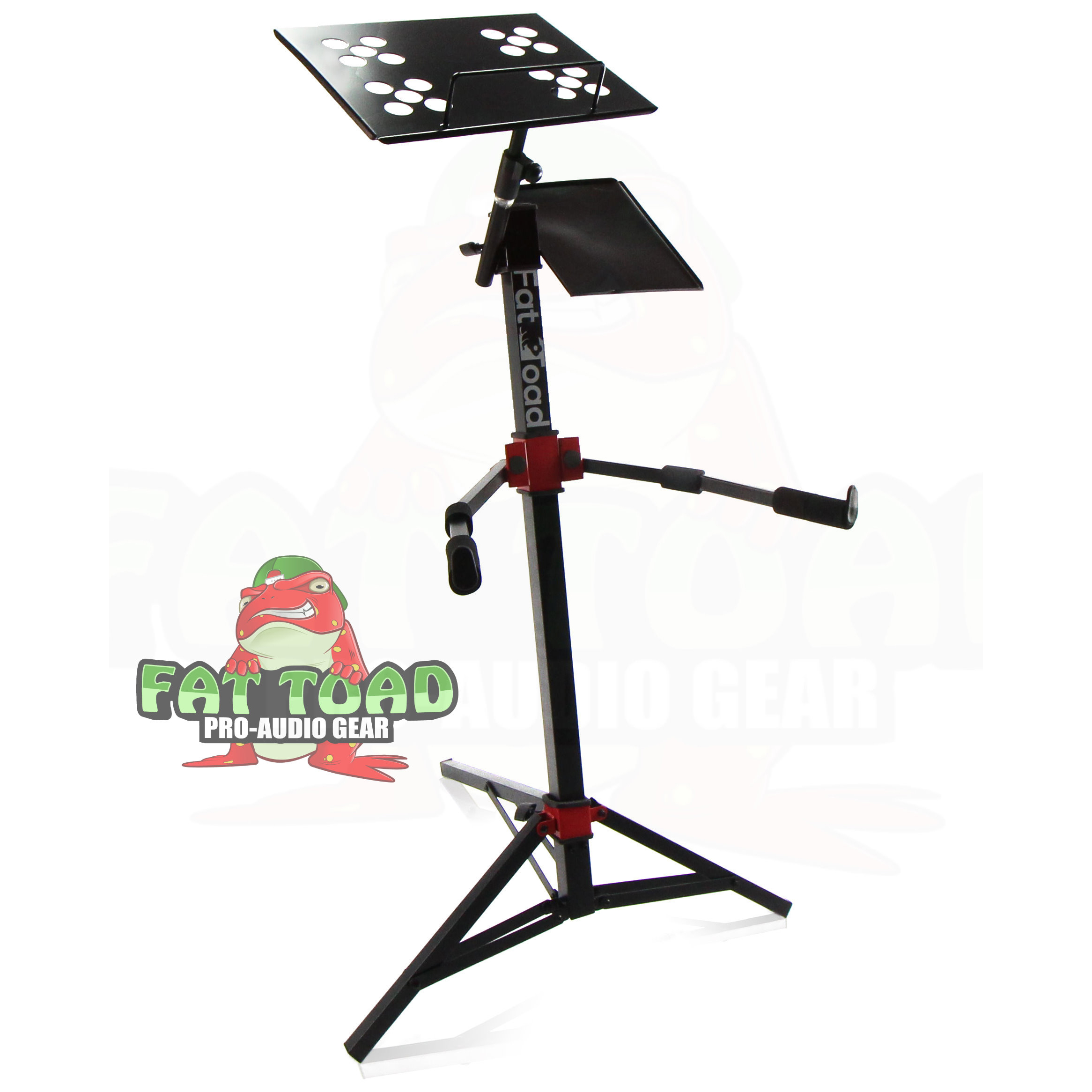 DJ Mixer Laptop Work Station Stand by Fat Toad  Portable, Adjustable Stand Up, MIDI Controller Mount, Folding Keyboard, Tablet, Synthesizer Table Mount (Multiuse)  Pro-Audio Gear Stage Performance Gig