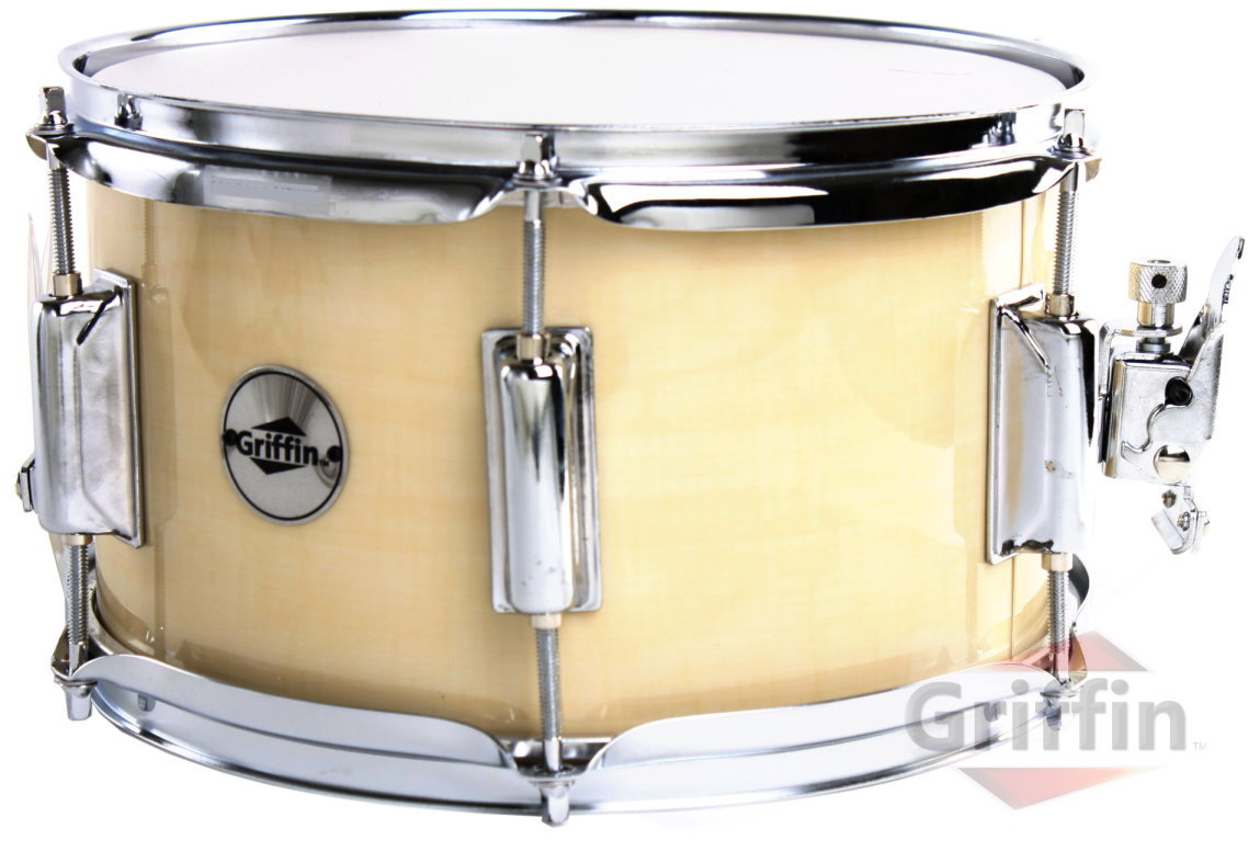 "Popcorn Snare Drum Firecracker Soprano Natural Wood Finish Maple Shell 10"" x 6"" Griffin"