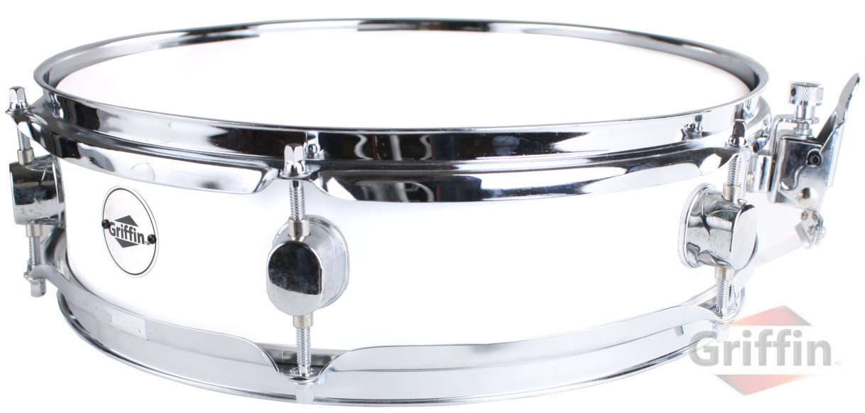 "Pearl White Piccolo Snare Drum Wood Maple Shell 13"" x 3.5"" Griffin"
