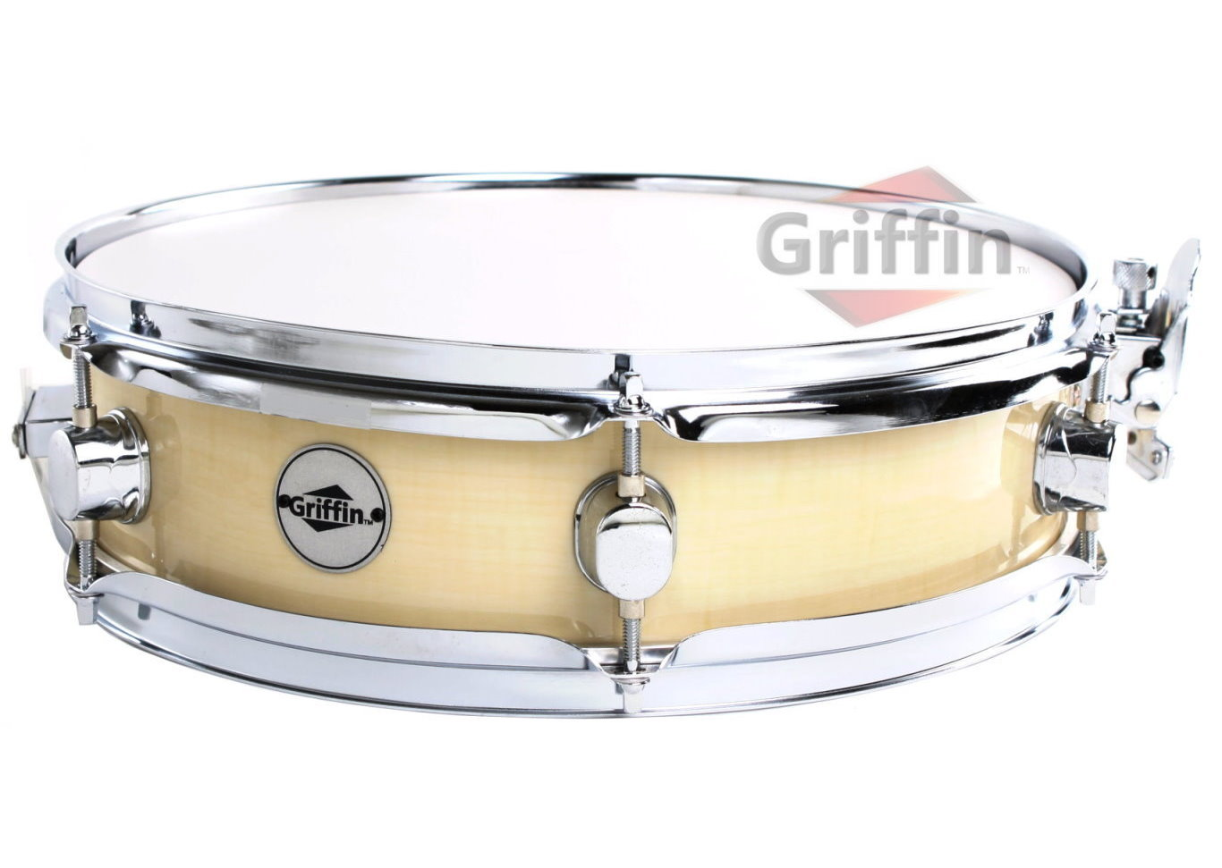 "Wood Finish Piccolo Snare Drum Maple Shell 13"" x 3.5"" Griffin"