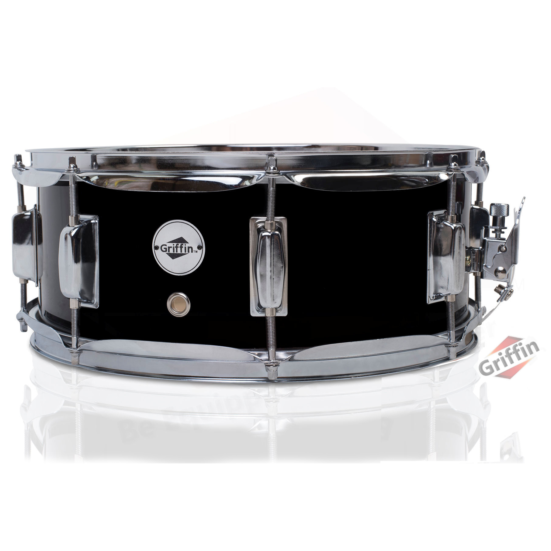 "Wood Snare Drum Black 14"" x 5.5"" Griffin"