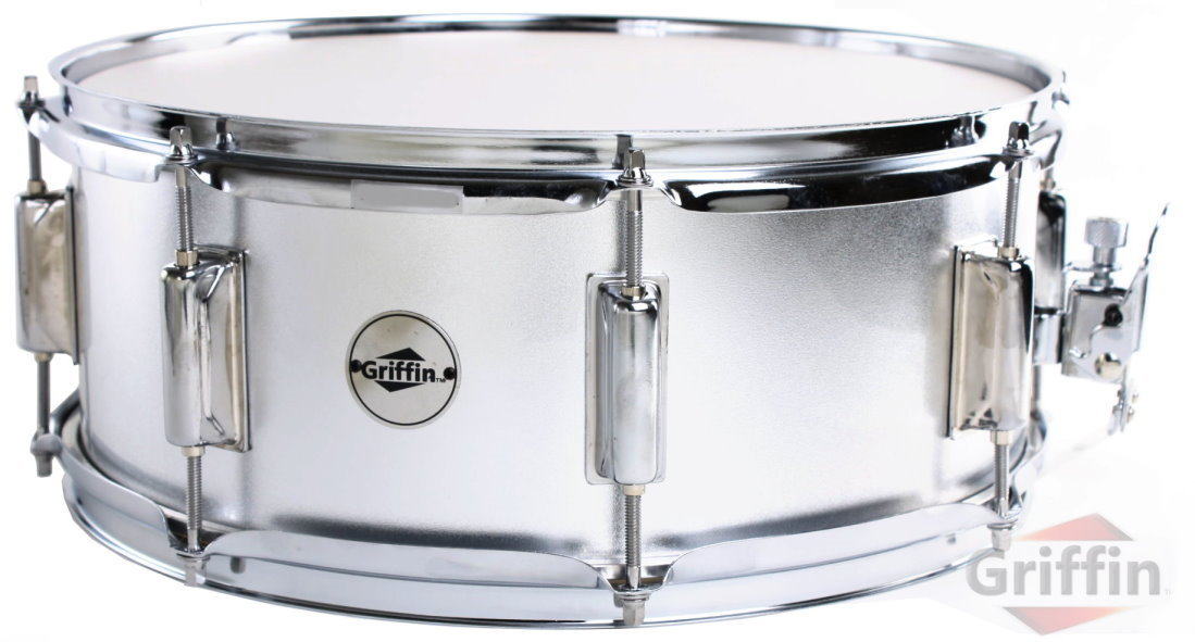 "Sparkle Silver Snare Drum Wood Maple Shell 14"" x 5.5"" Griffin"