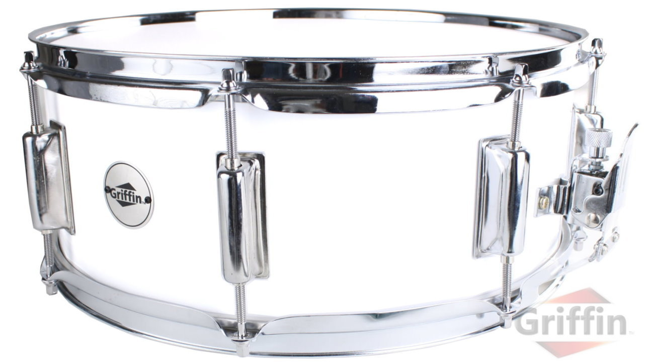 "White Snare Drum Maple Wood Shell 14"" x 5.5"" Griffin"