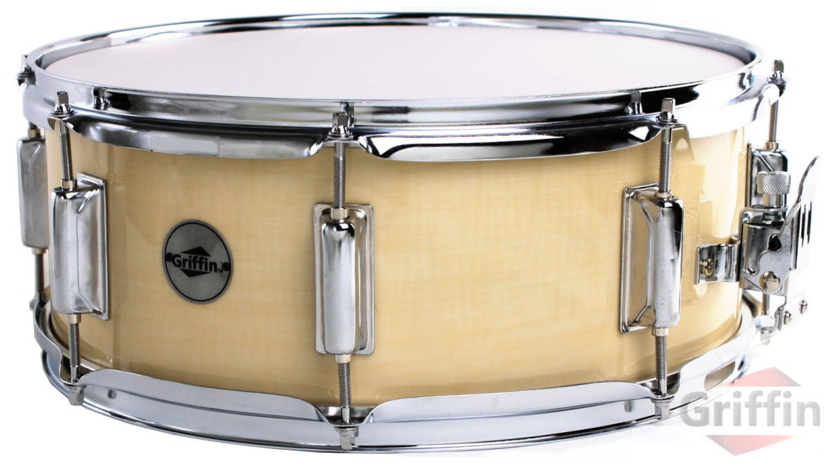 "Natural Wood Finish Snare Drum 14"" x 5.5"" Griffin"