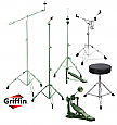 Complete Drum Hardware Pack 6 Piece Set by Griffin | Full Size Percussion Stand Kit with Snare, Hi-Hat, Cymbal Boom, Throne Stool and Single Kick Drum Pedal|Lightweight and Portable|Perfect for Gigs