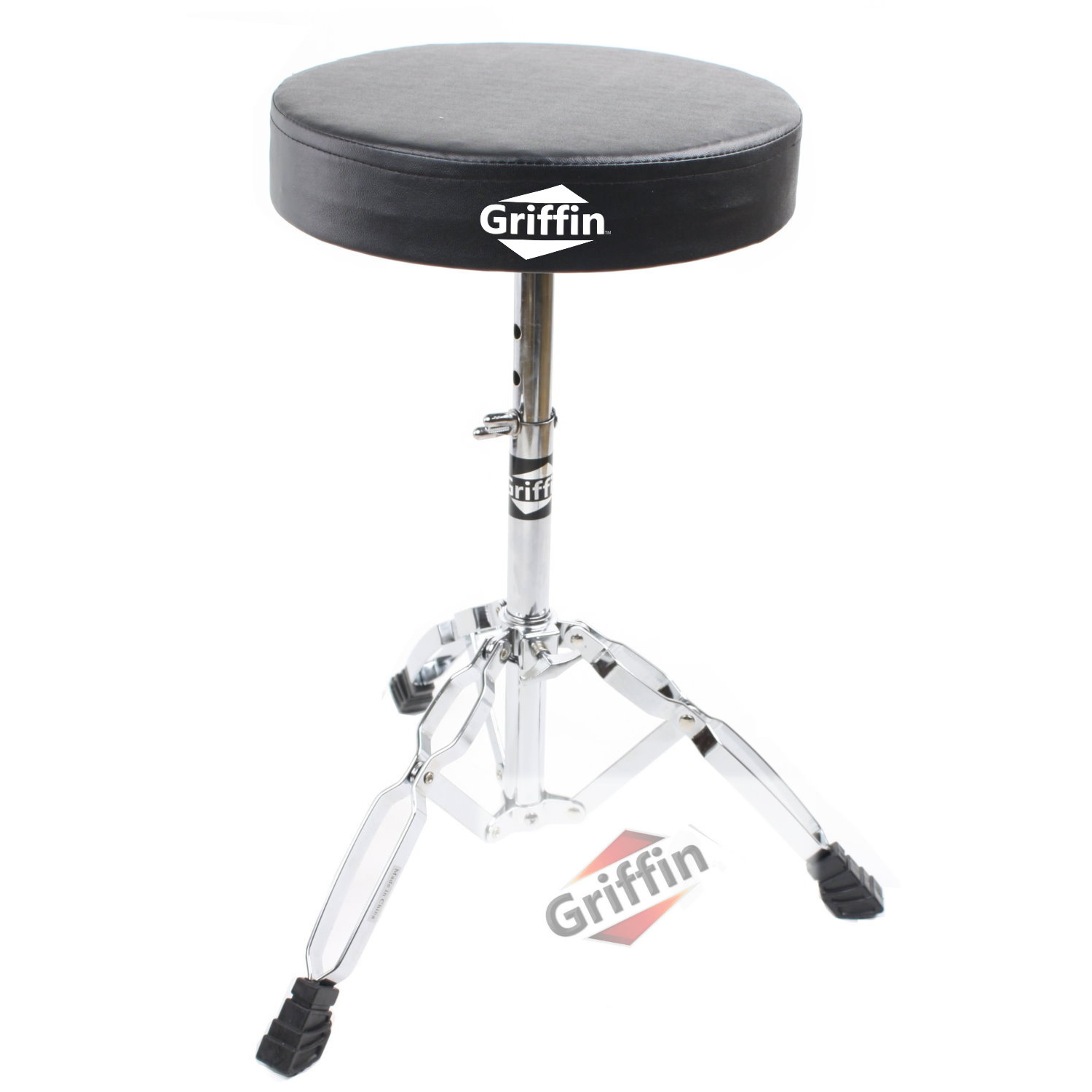 Drum Throne Stool Drummers Seat Double-Braced Hardware by Griffin