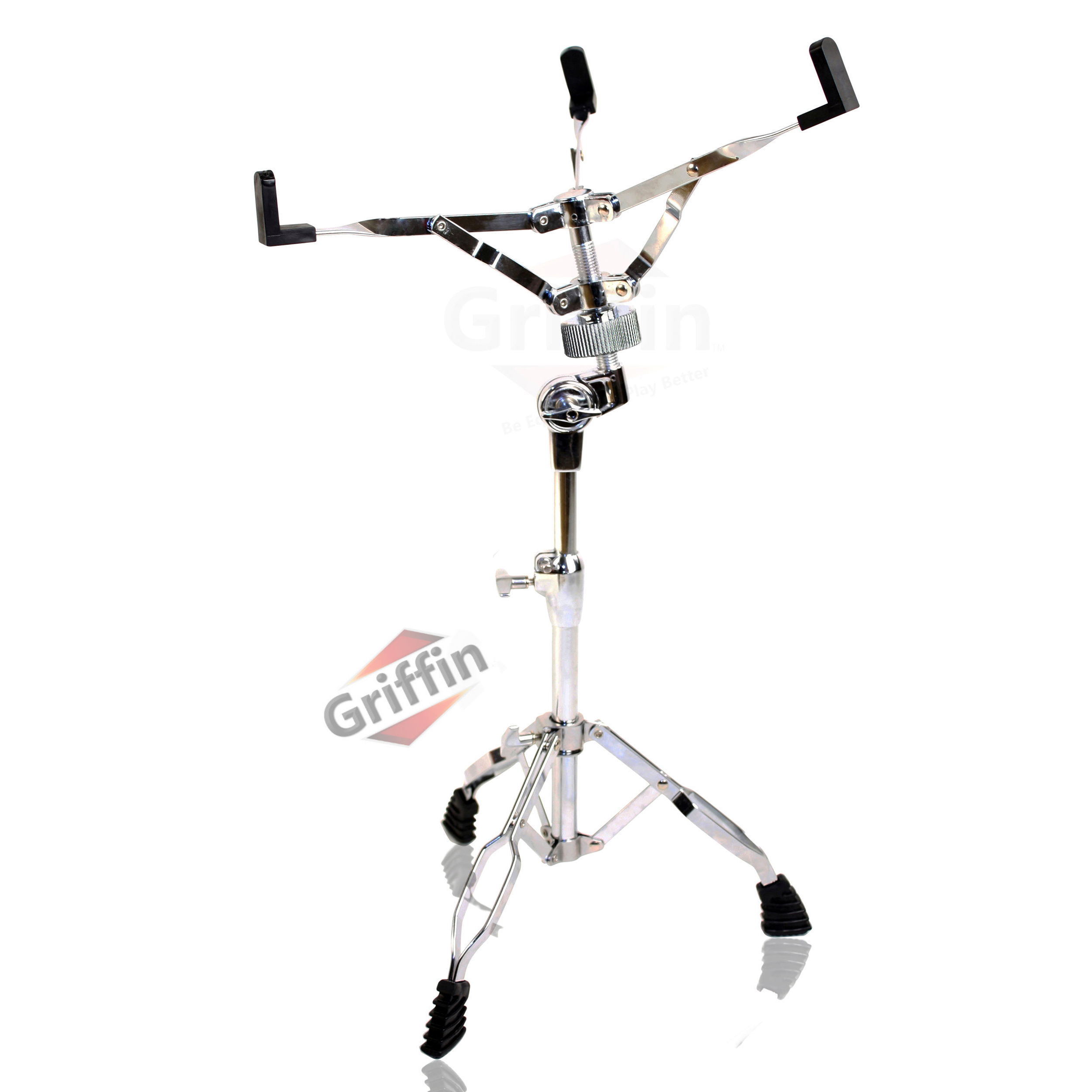 Snare Drum Stand by Griffin|Deluxe Percussion Hardware Base Kit | Double Braced, Light Weight Mount for Standard Snare and Tom Drums | Slip-Proof Gear Tilter | Sturdy Clamp Style Basket Holder