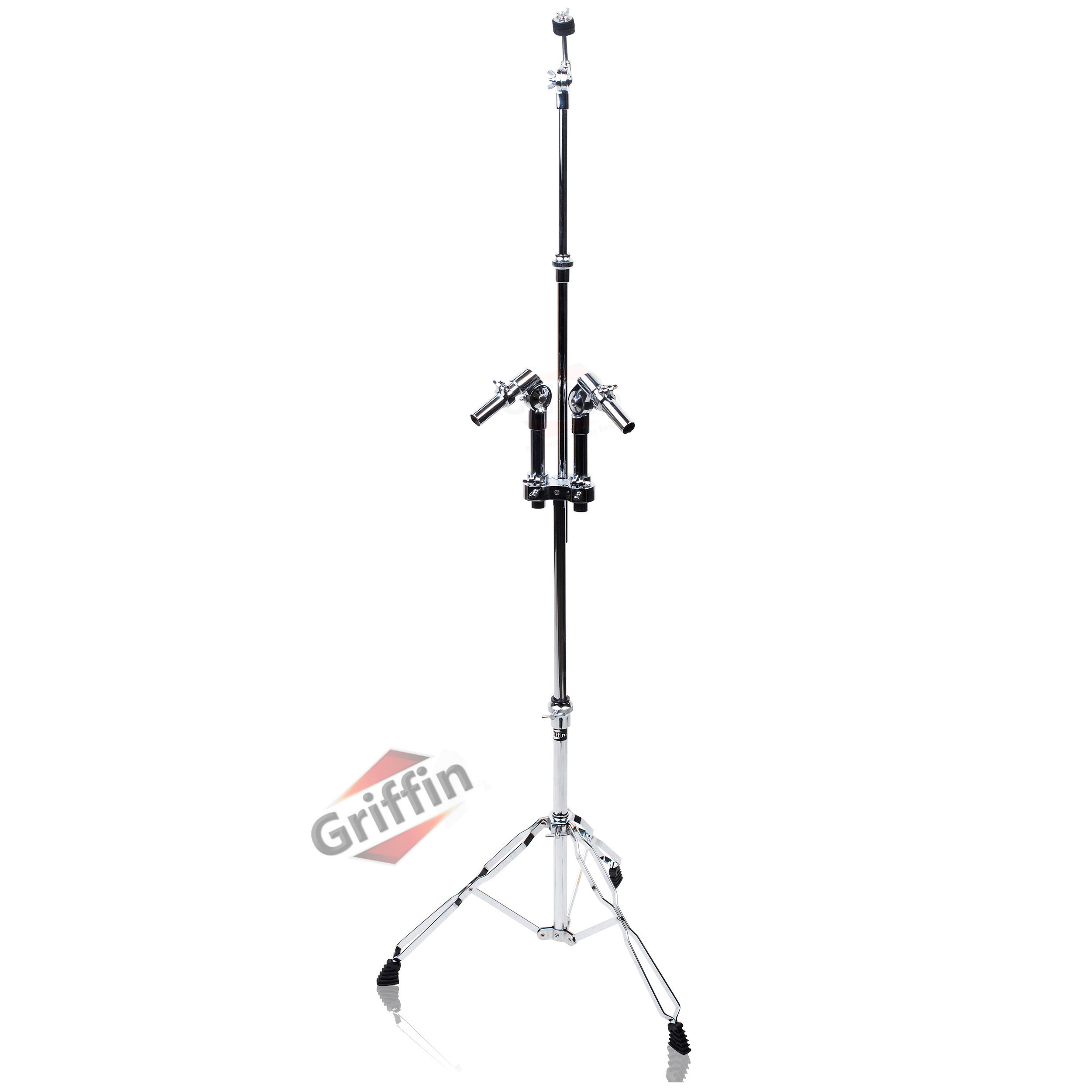 Double Tom Cymbal Stand with Cymbal Arm Heavy-Duty Hardware Mount by Griffin