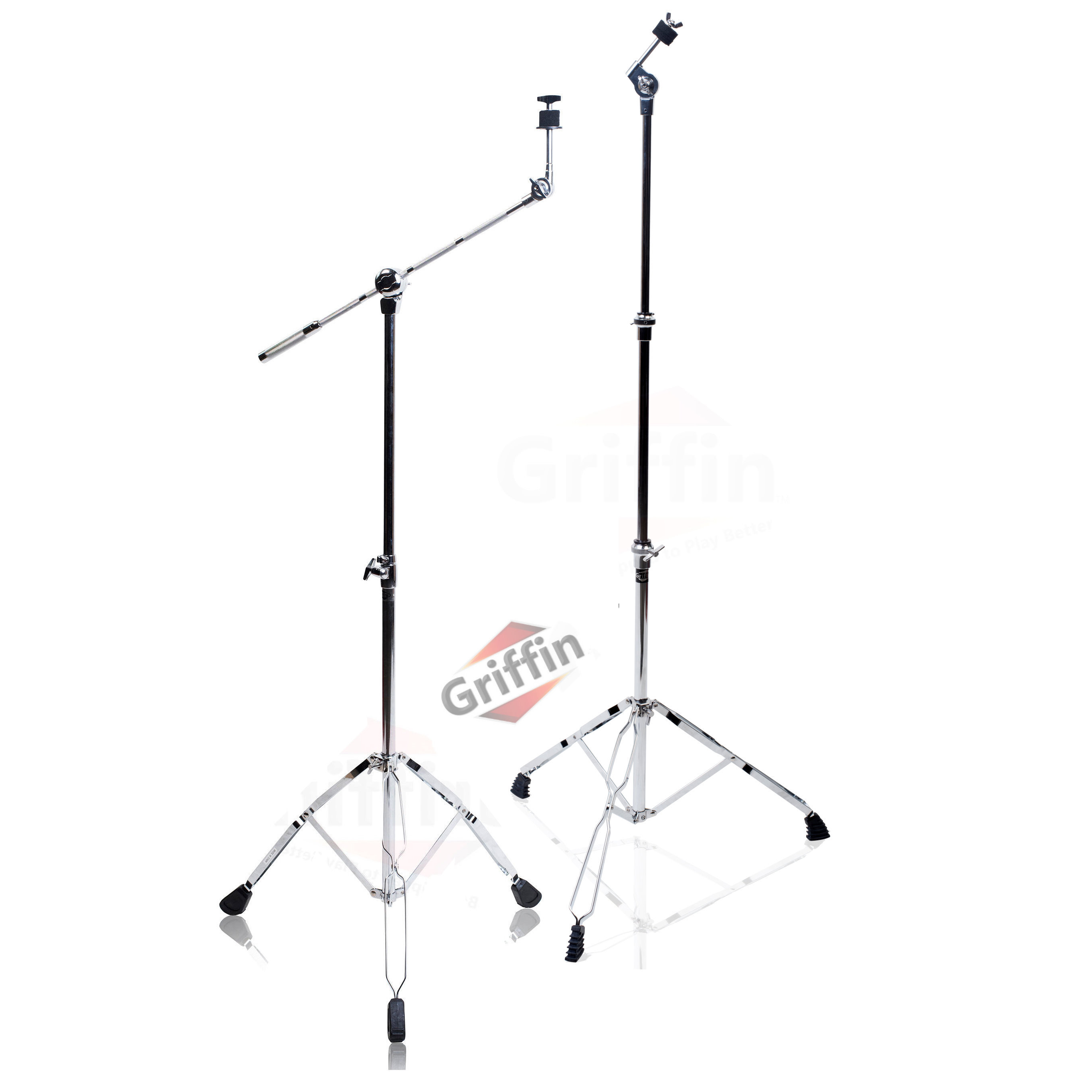 Cymbal Boom Stand & Straight Cymbal Stand Combo (Pack of 2) by Griffin | Percussion Drum Hardware Set for Mounting & Holding Crash, Ride, Splash Cymbals | Arm Counterweight Adapter Kit | Double Braced Legs