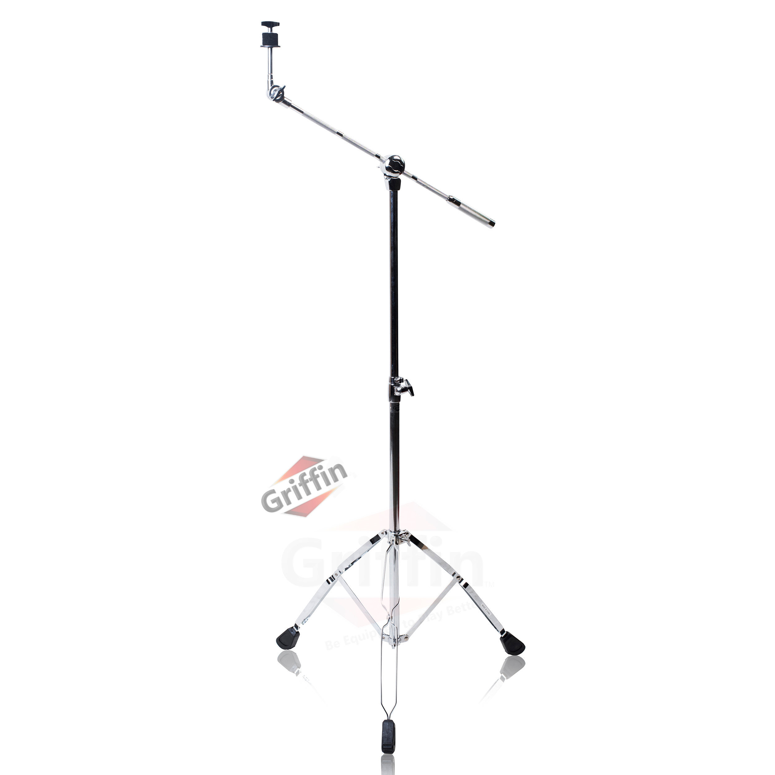 Cymbal Boom Stand by Griffin | Double Braced Drum Percussion Gear Hardware Set | Adjustable Height|Arm Holder With Counterweight Adapter for Mounting Heavy Duty Weight Crash and Ride Cymbals For Drummers