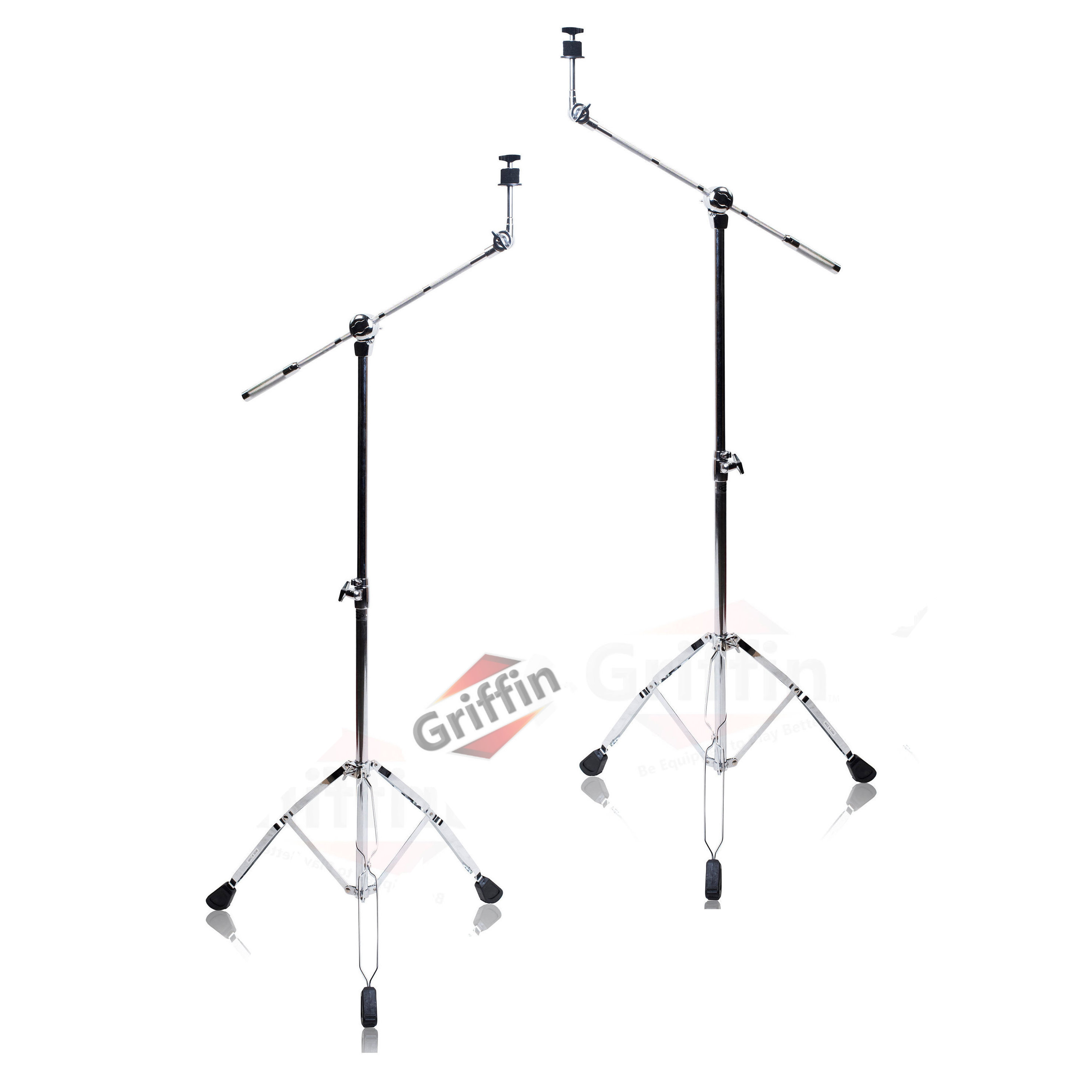 Cymbal Boom Stands Drum Hardware 2 Double-Braced Cymbal Stand Pack by Griffin
