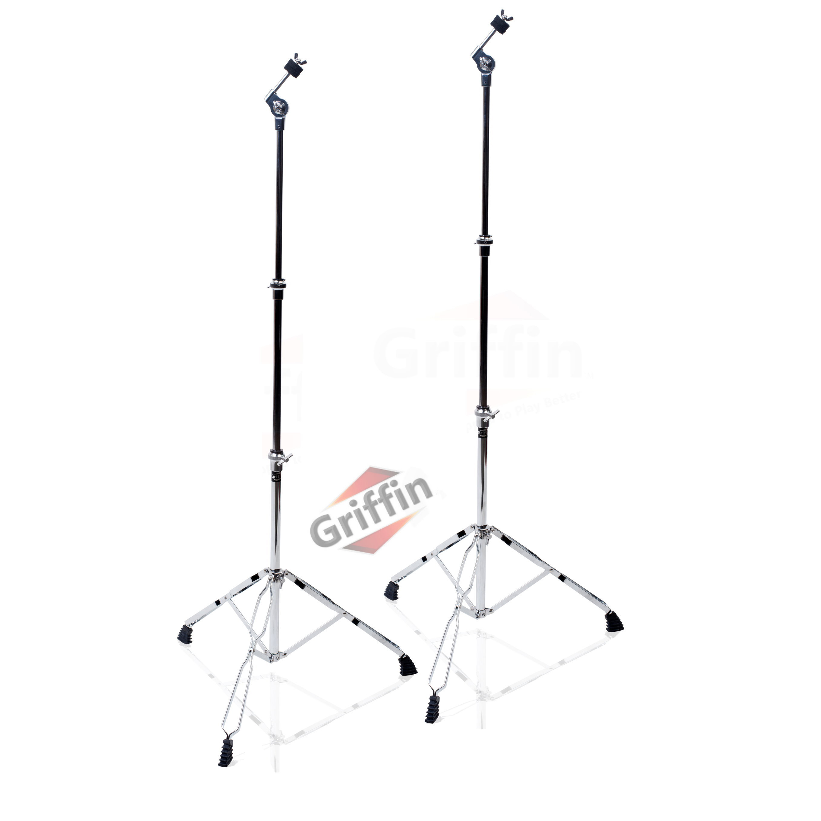 Straight Cymbal Stand Drum Hardware 2 Pack Drummers Double-Braced Cymbal Stands by Griffin