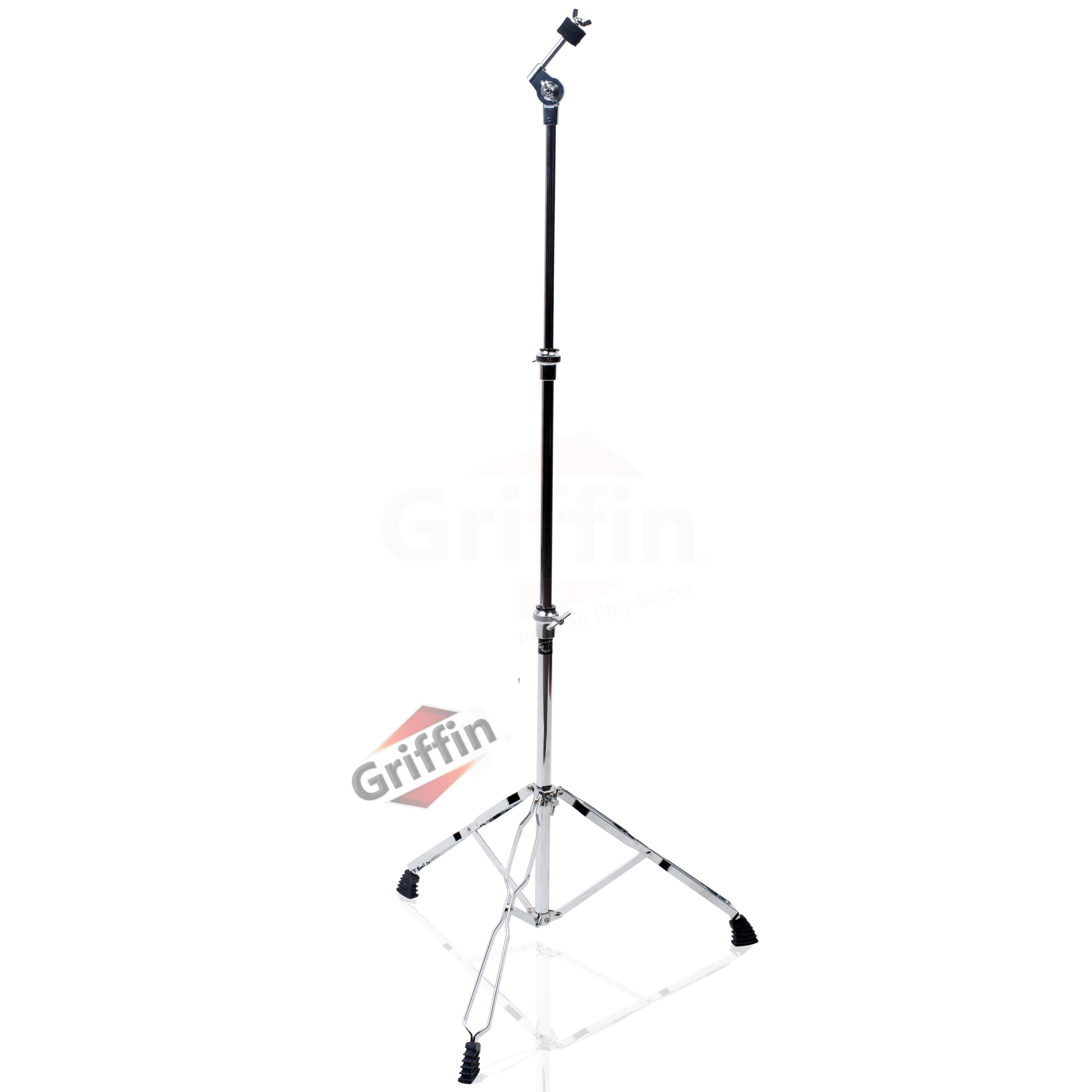 Straight Cymbal Stand by Griffin | Deluxe Percussion Drum Hardware Set for Mounting Medium-Duty Crash, Ride & Splash Cymbals|Double Braced Legs, Slip-Proof Gear Holder | Light-Duty for Mobile Drummers