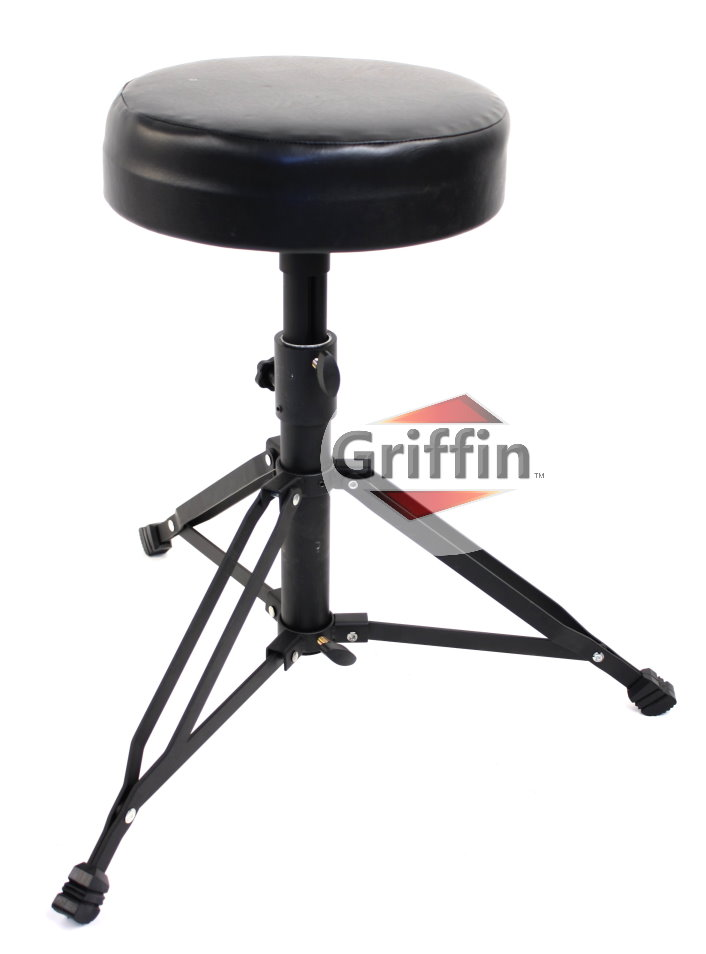 Black Drum Throne Drummers Seat Stool Heavy-Duty Hardware by Griffin