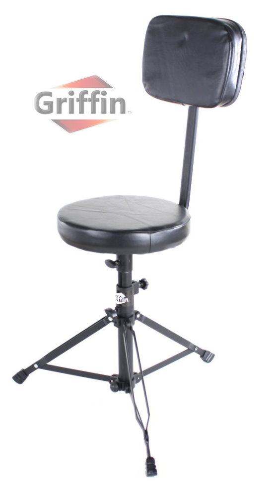Drum Throne with Back Rest Support Drummers Stool Seat Backrest Black by Griffin