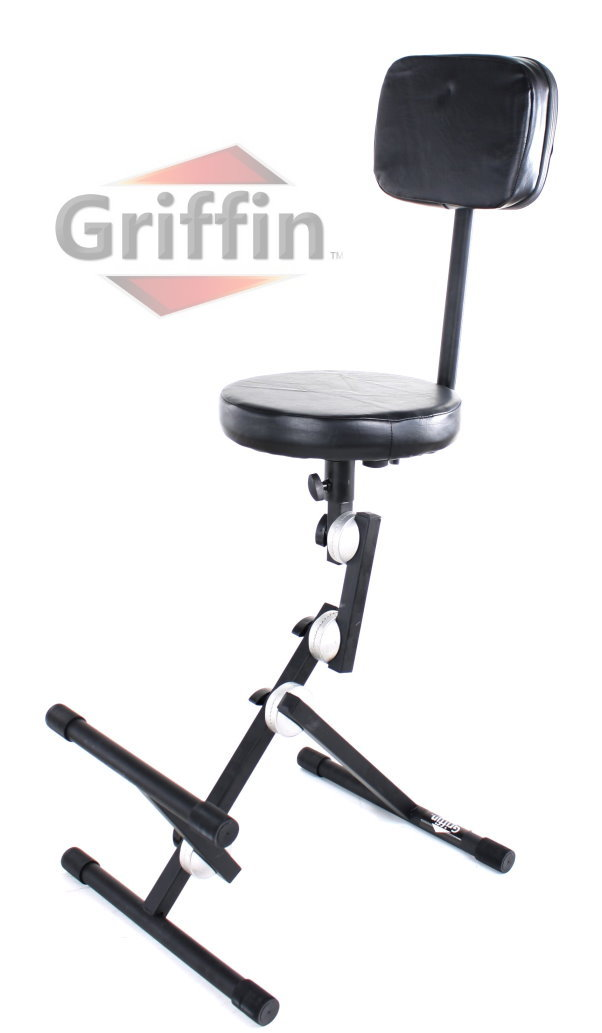 Musicians Throne with Backrest and Footrest Adjustable Drum Stool by Griffin