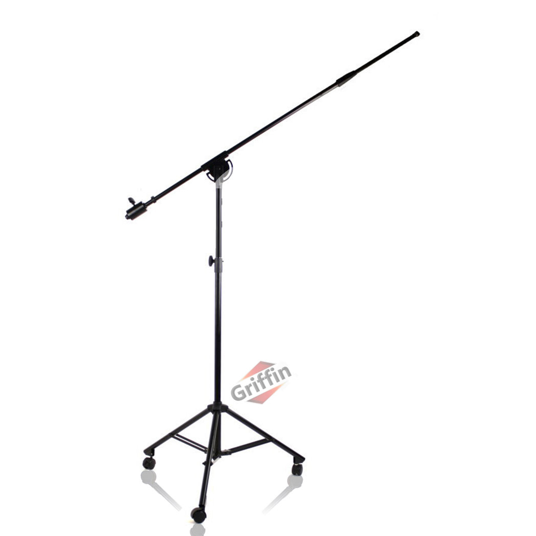 Studio Microphone Boom Stand on Wheels Tripod Mic Arm with Casters and Mic Clip by Griffin