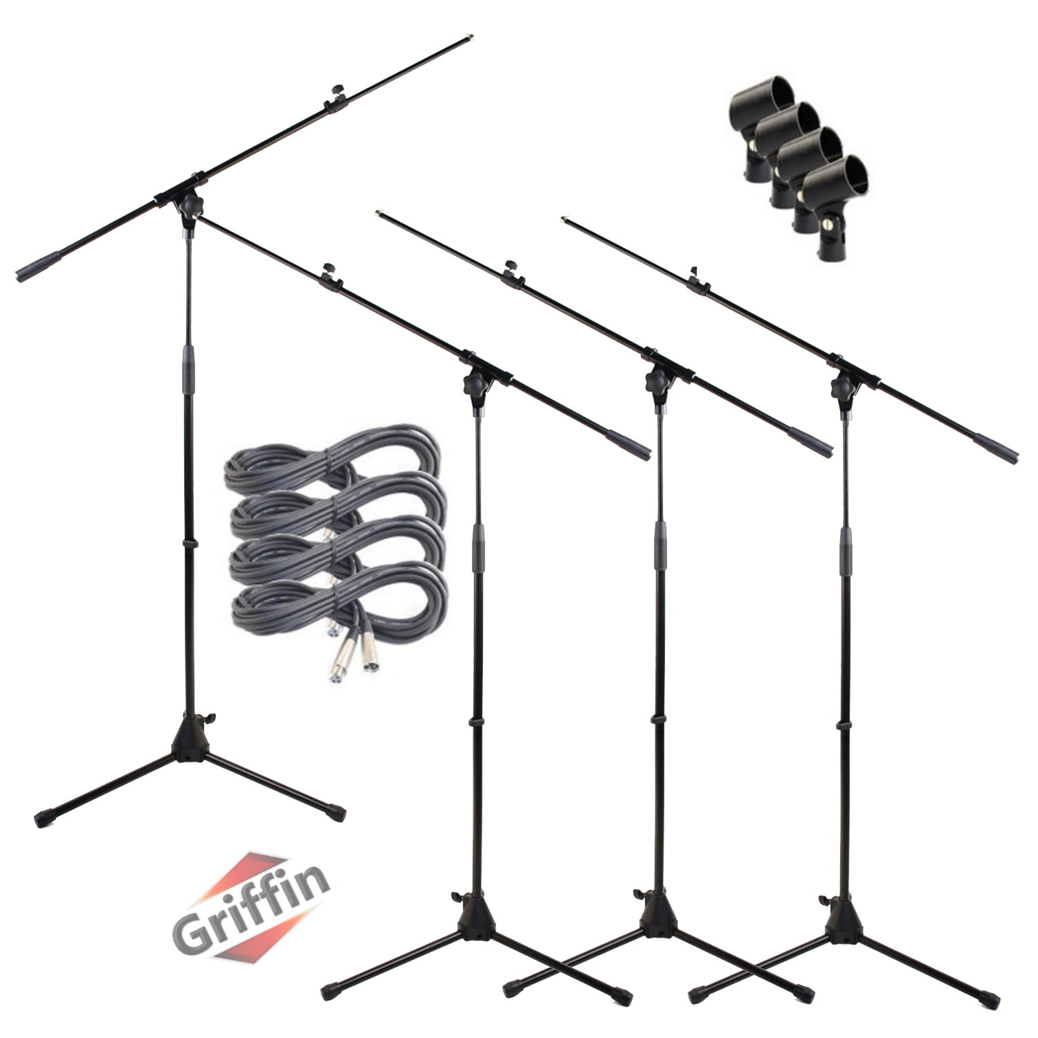 Mic Boom Stands with XLR Microphone Cables and Microphone Clips 4 Pack by Griffin
