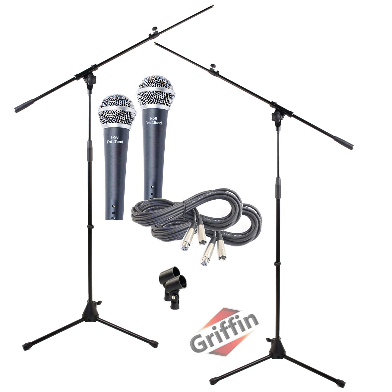 Microphone Boom Stand with XLR Mic Cable, Cardioid Dynamic Microphone & Clip (Pack of 2) by Griffin | Telescoping Arm Holder | Tripod Mount | 20 ft Pro Audio 3-Pin Cord Patch | Vocal Unidirectional Microphone