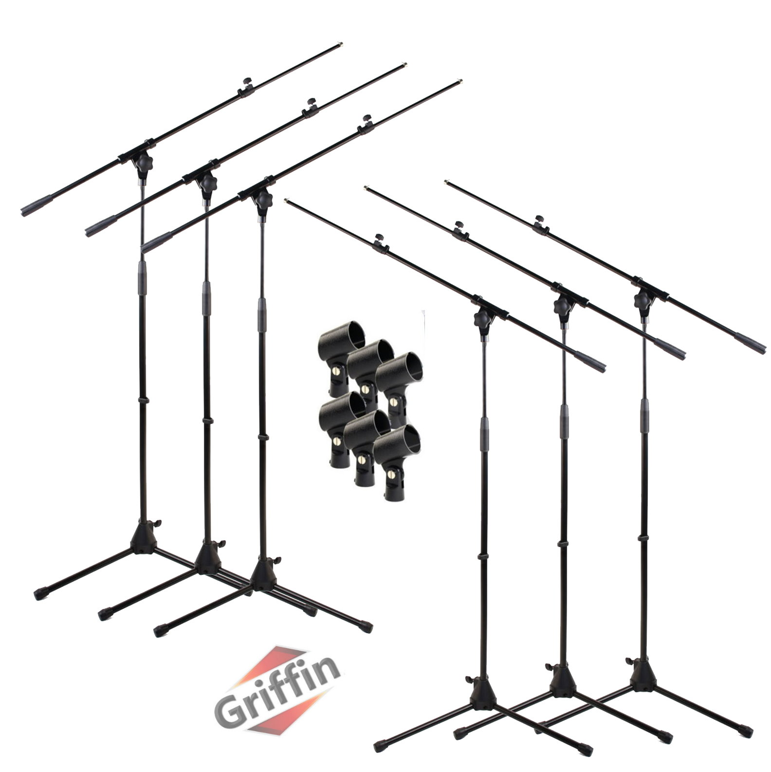 Microphone Boom Stand Package 6 PACK of Microphone Stands with Mic Clips by Griffin